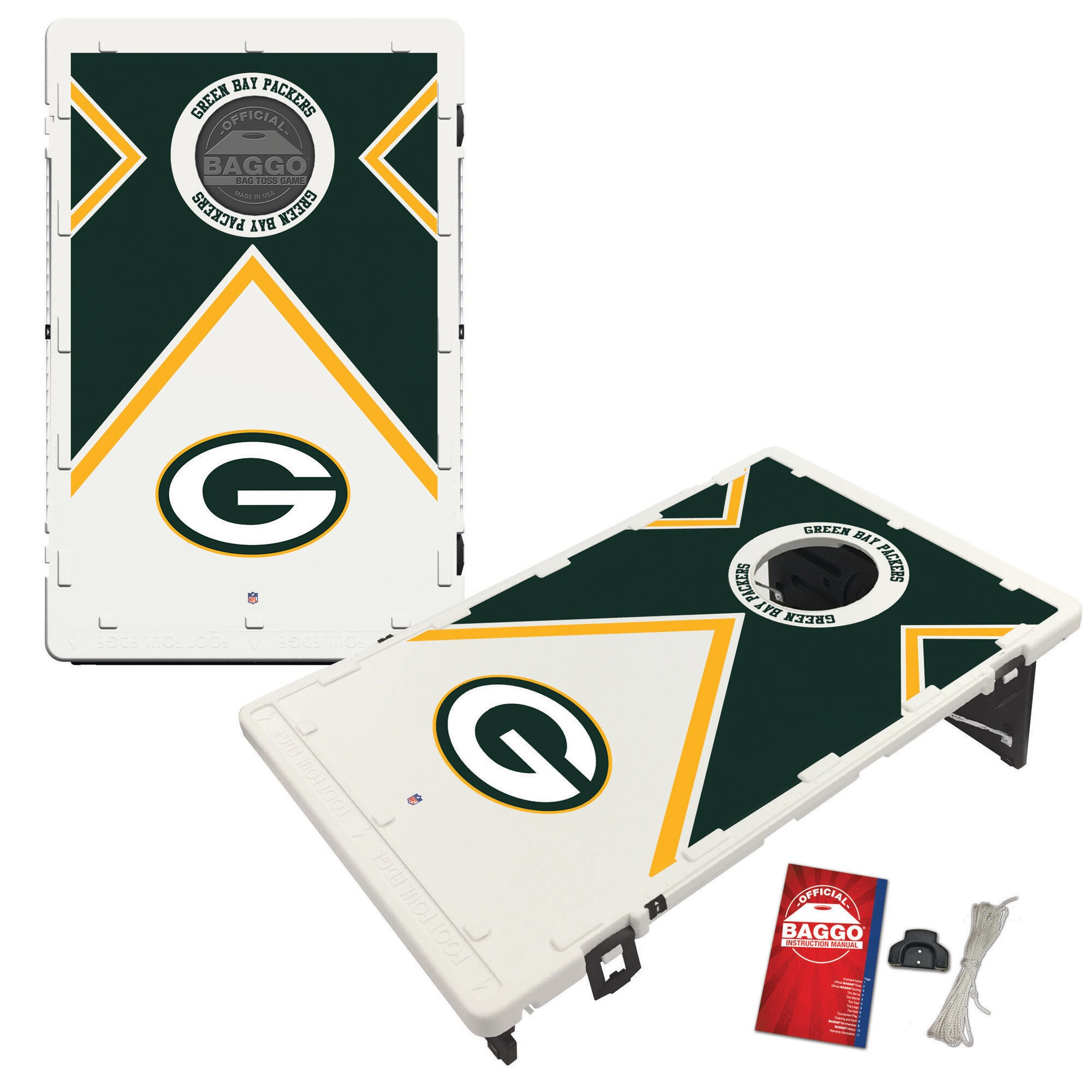 Green Bay Packers 2' x 3' BAGGO Vintage Cornhole Board Tailgate Toss Set