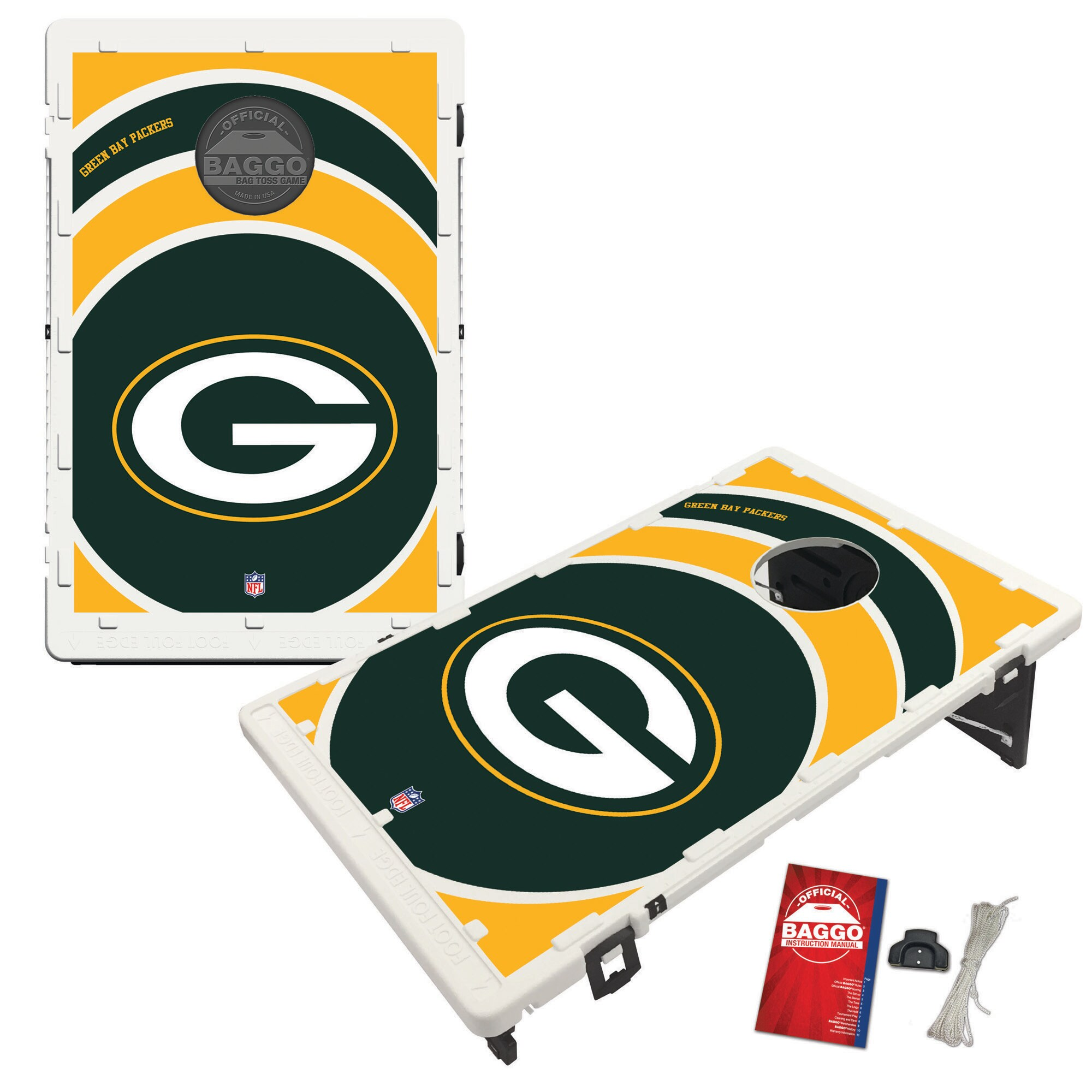 Green Bay Packers 2' x 3' BAGGO Vortex Cornhole Board Tailgate Toss Set
