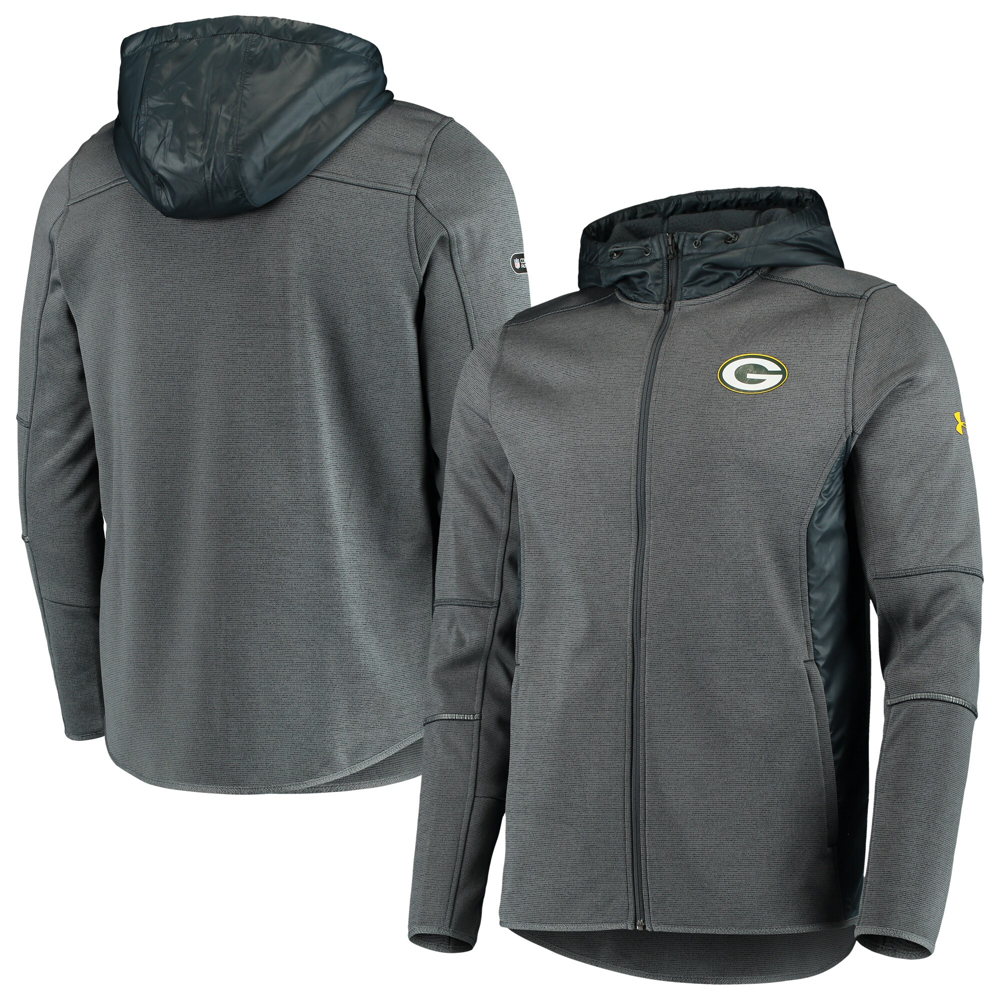 Green Bay Packers Under Armour Combine Authentic Full-Zip Swacket - Charcoal