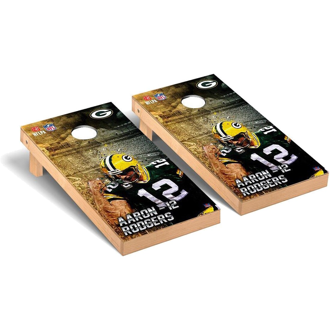 Aaron Rodgers Green Bay Packers 2' x 4' NFLPA Player Cornhole Board Tailgate Toss Set