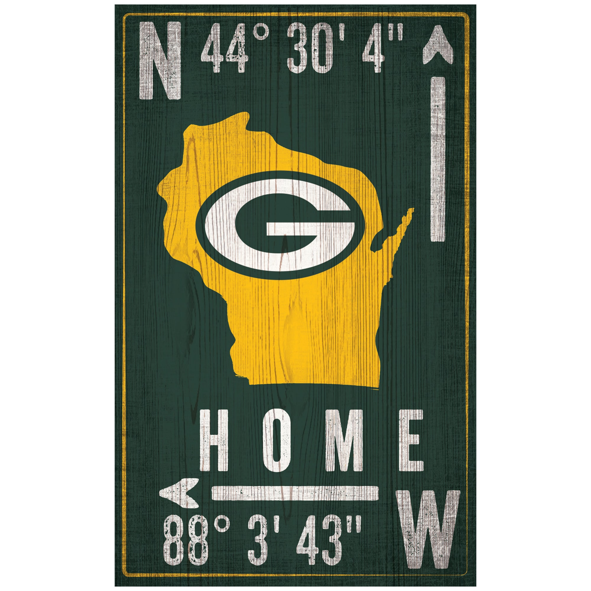 """Green Bay Packers 11"""" x 19"""" Coordinate Sign"""