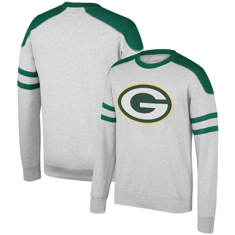 Green Bay Packers Mitchell & Ness Post Season Run Crew Sweatshirt - Heathered Gray