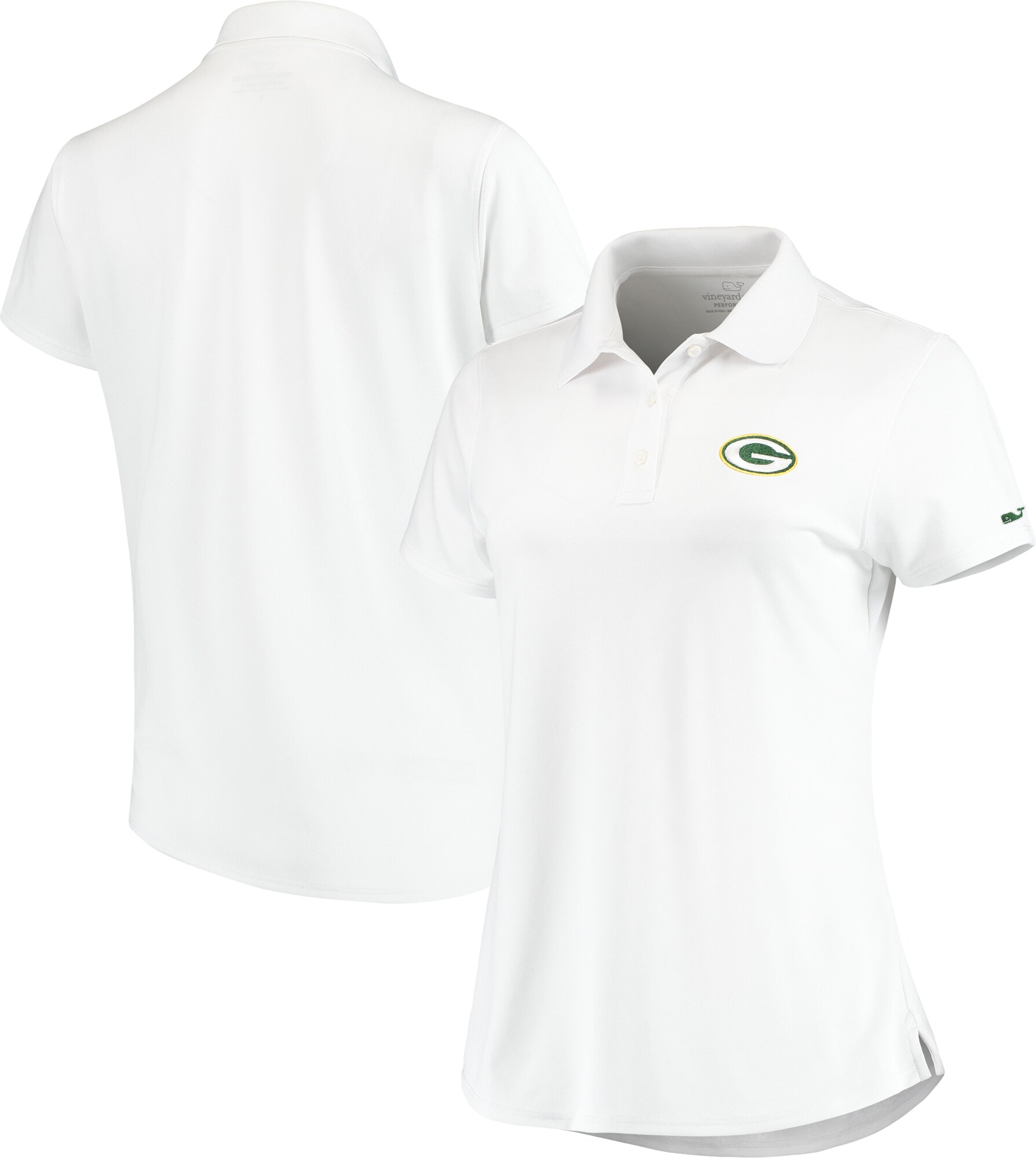 Green Bay Packers Vineyard Vines Women's Pique Sport Performance Polo - White