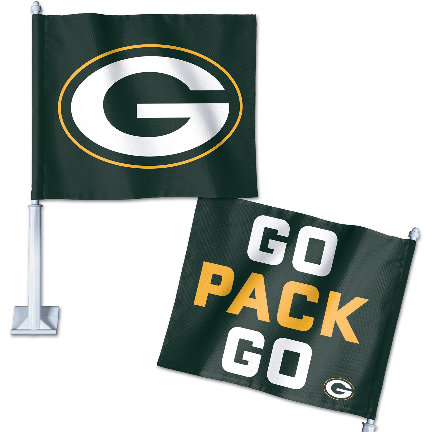 Green Bay Packers WinCraft Double-Sided Slogan Car Flag