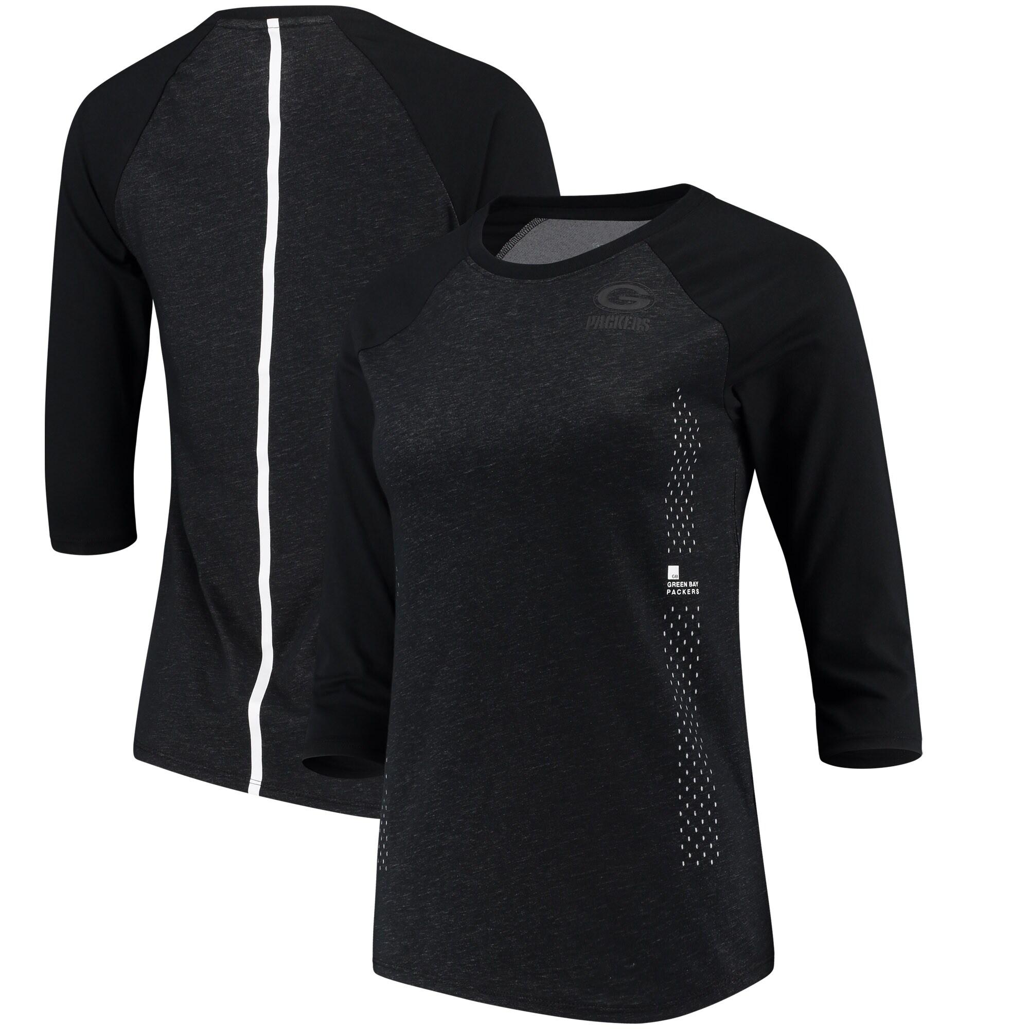 Green Bay Packers Nike Women's Performance Black Pack 3/4 Sleeve Raglan T-Shirt - Black