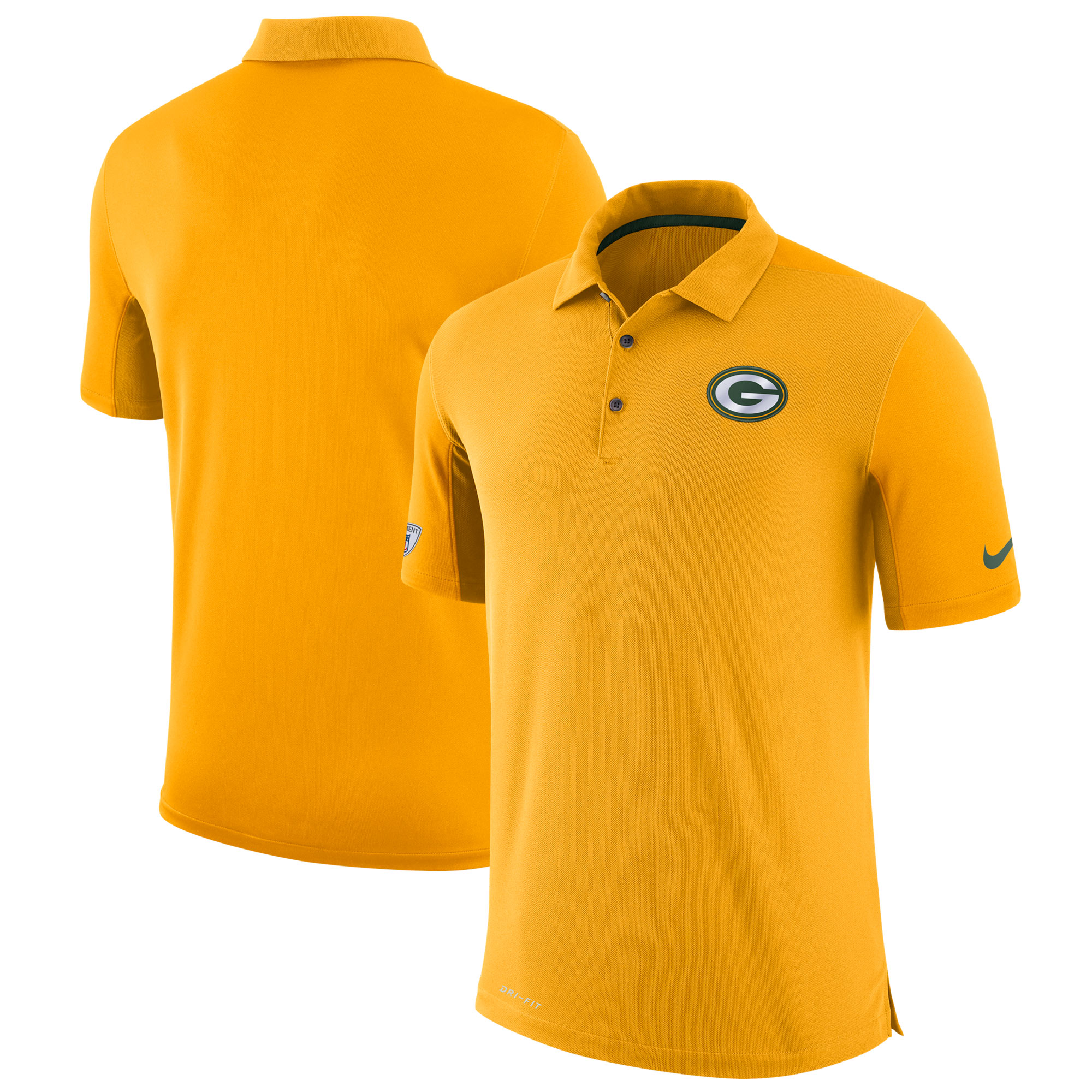 Green Bay Packers Nike Sideline Team Issue Logo Performance Polo - Gold