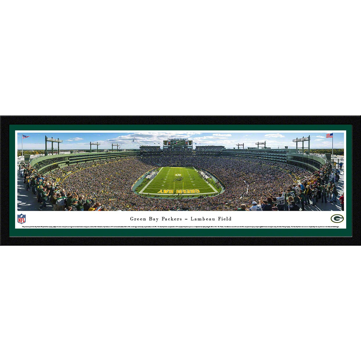 "Green Bay Packers 16"" x 42"" Select Frame Stadium Panoramic Photo"