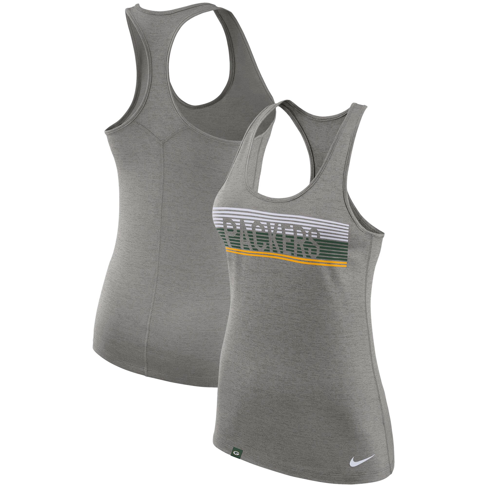 Green Bay Packers Nike Women's Touch Performance Tank Top - Heathered Charcoal
