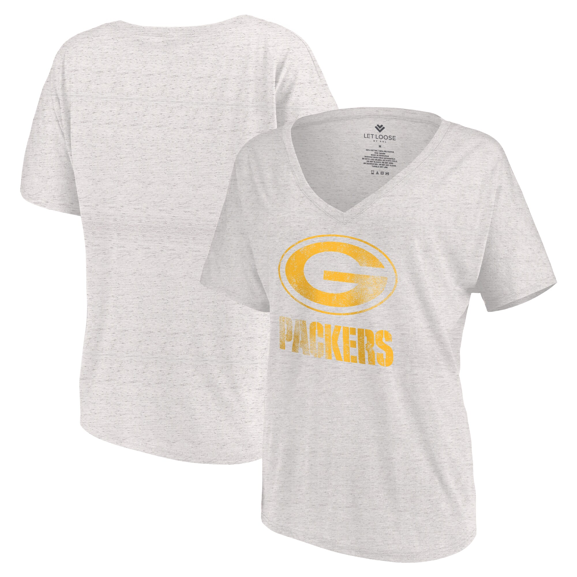 Green Bay Packers Let Loose by RNL Women's Distressed Primary V-Neck T-Shirt - White