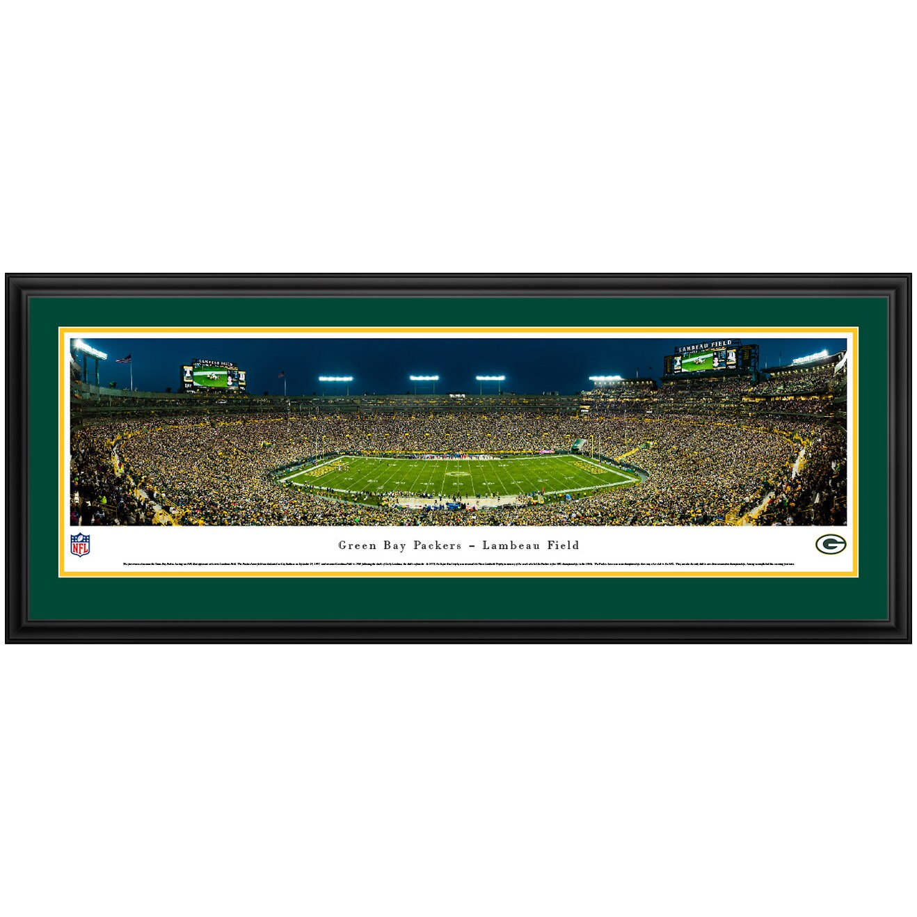 "Green Bay Packers 44"" x 18"" Night at Lambeau Field Deluxe Frame Panoramic Photo"