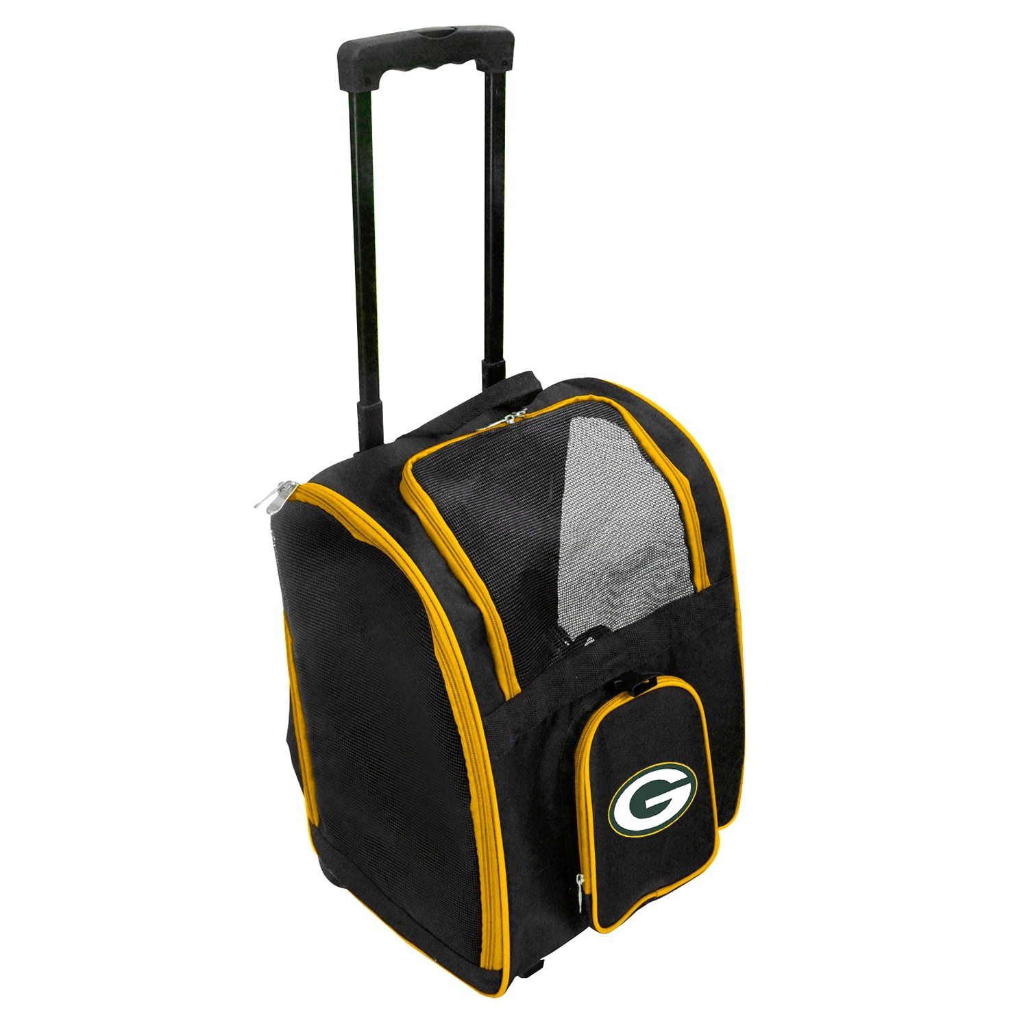 Green Bay Packers 2-Wheeled Roller Pet Carrier - Black