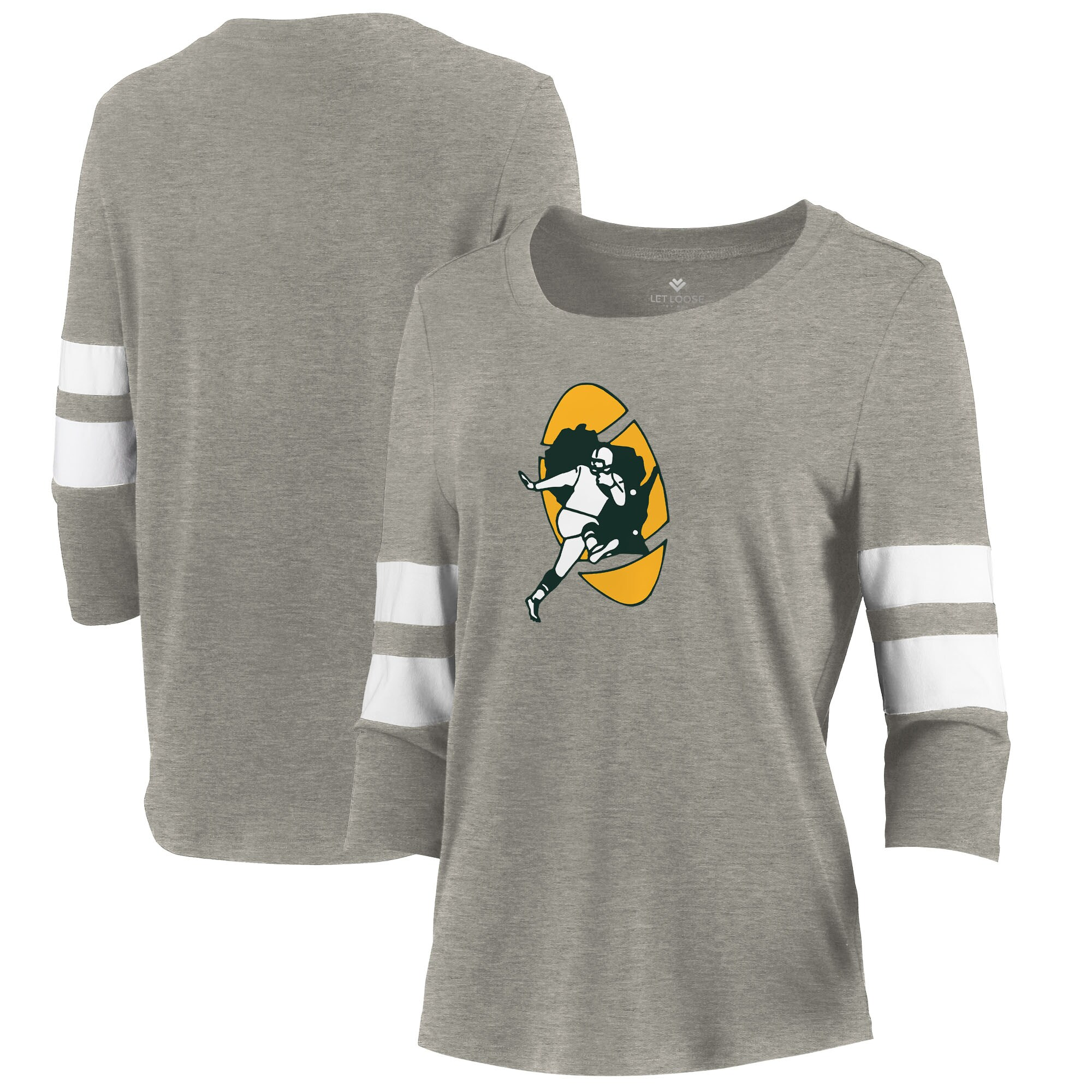 Green Bay Packers Let Loose by RNL Women's Team Logo Stripe Tri-Blend 3/4 Sleeve T-Shirt - Ash