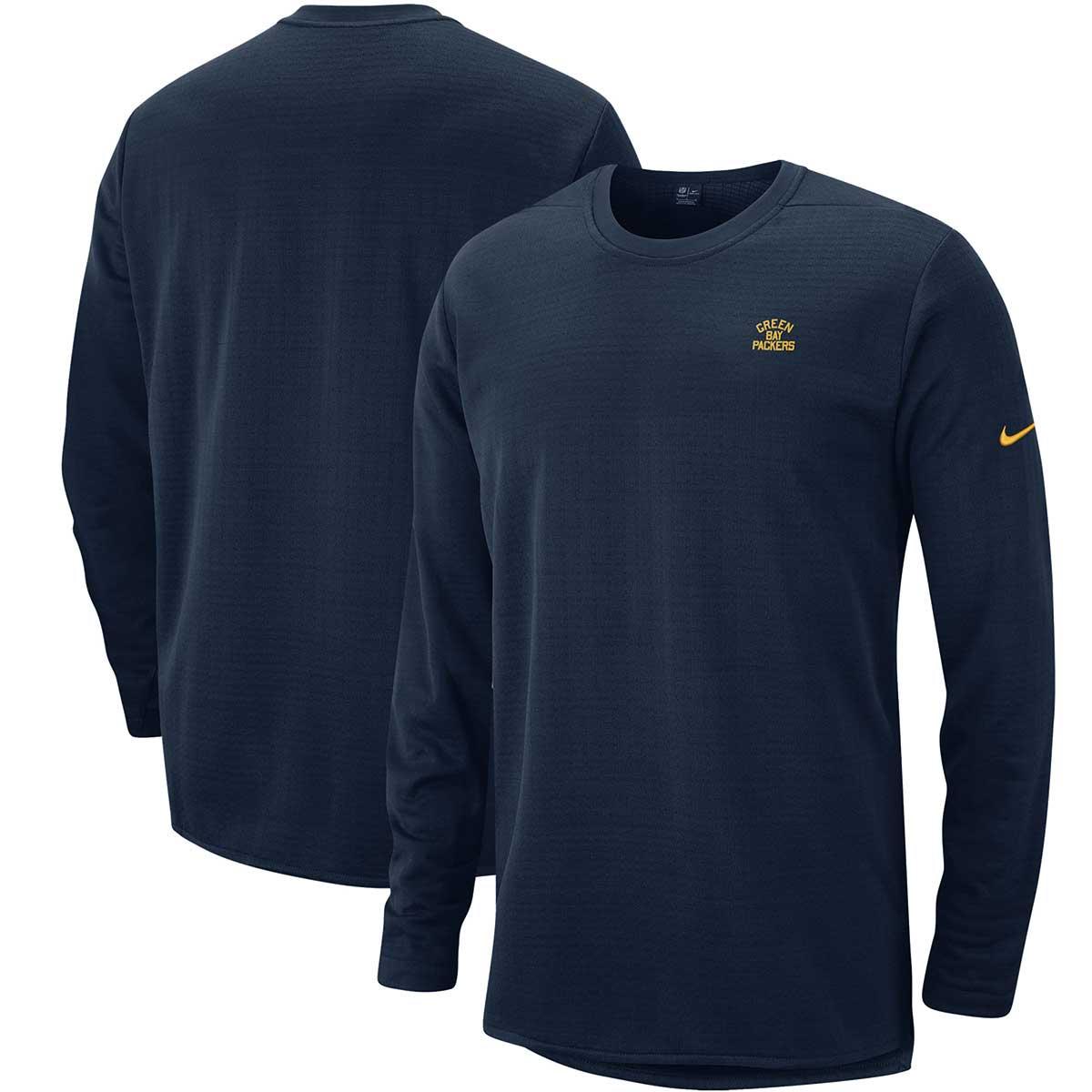 Green Bay Packers Nike Sideline Modern Alternate Throwback Logo Performance Sweatshirt - Navy