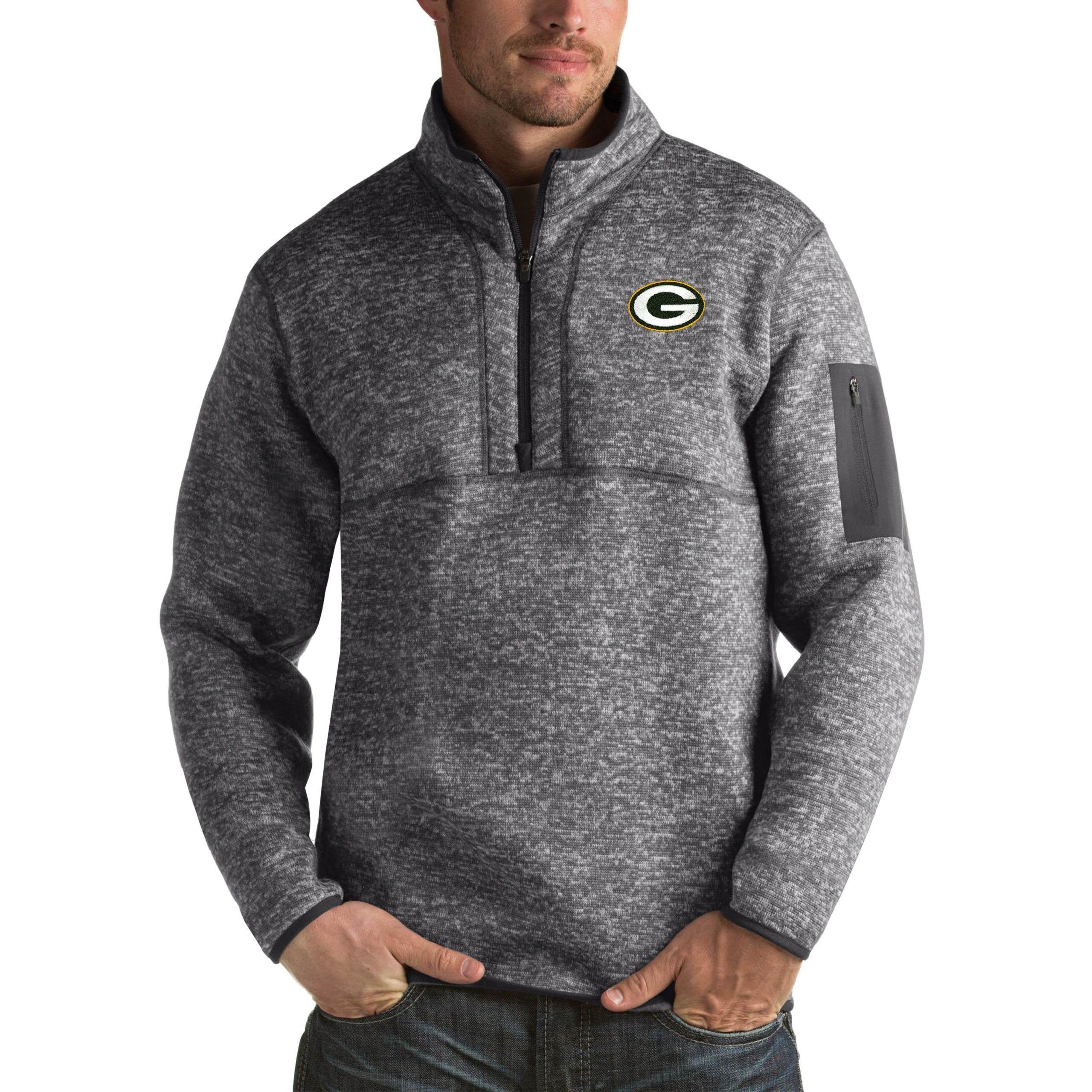 Green Bay Packers Antigua Fortune Big & Tall Quarter-Zip Pullover Jacket - Charcoal