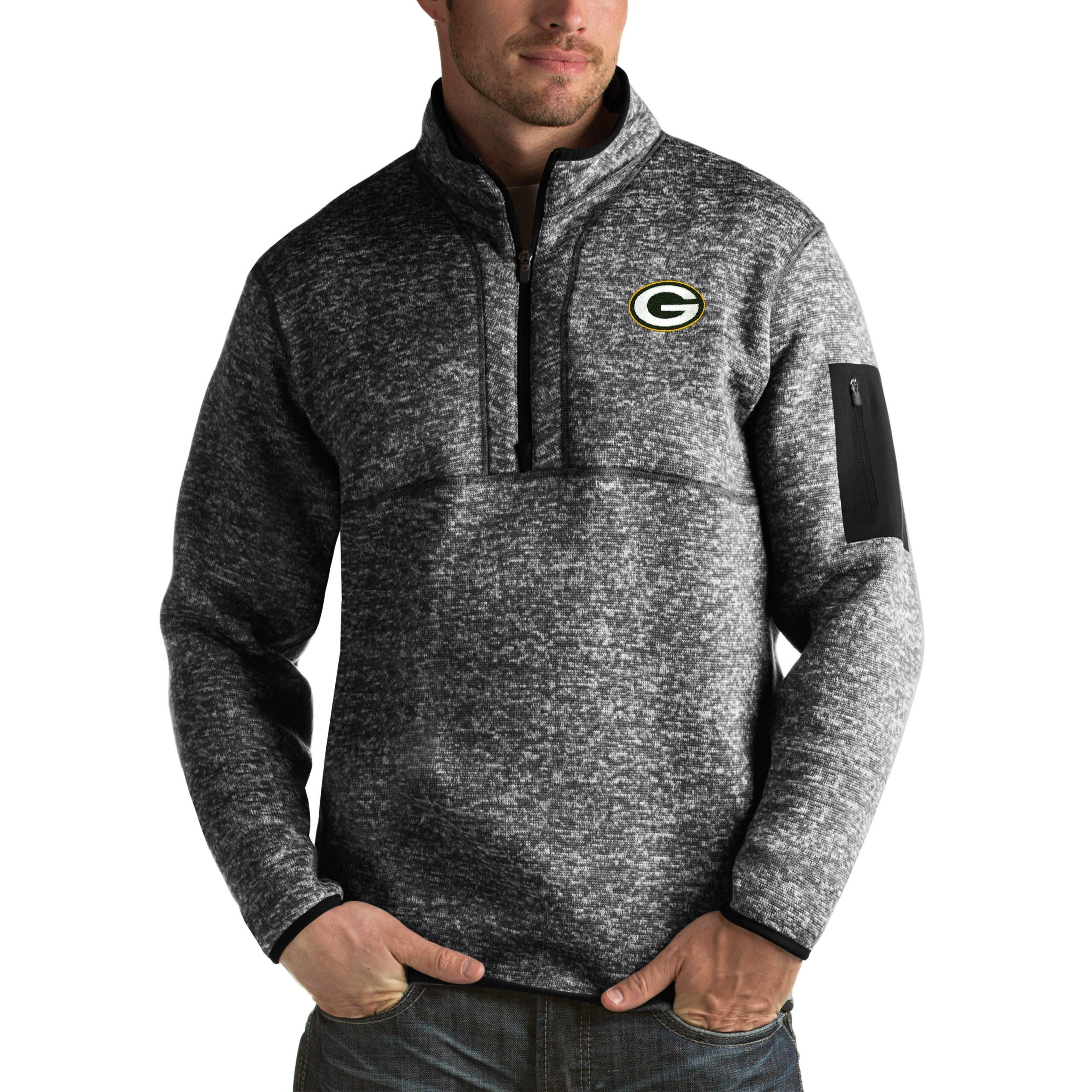 Green Bay Packers Antigua Fortune Big & Tall Quarter-Zip Pullover Jacket - Heather Black