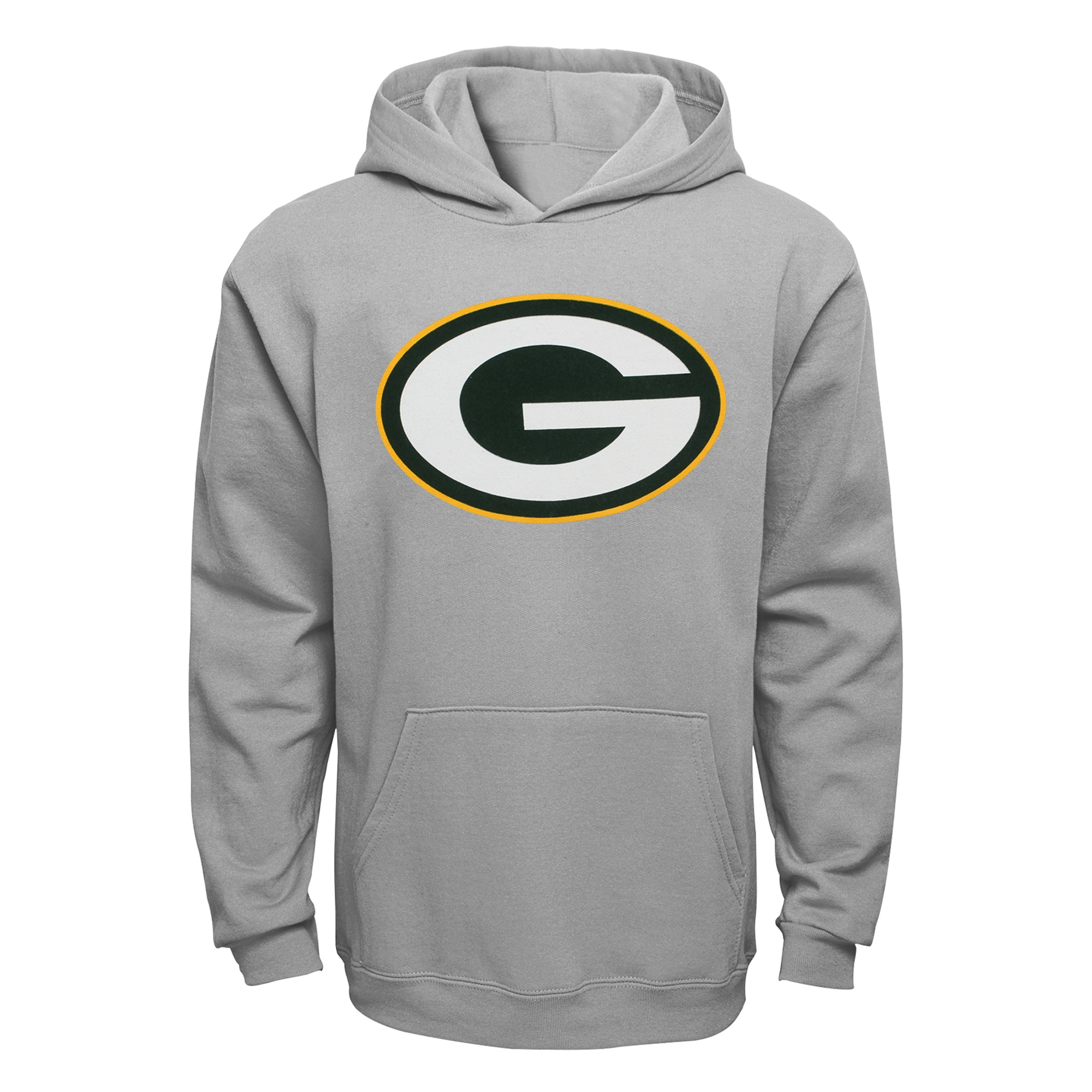 Green Bay Packers Youth Current Logo Pullover Hoodie - Gray