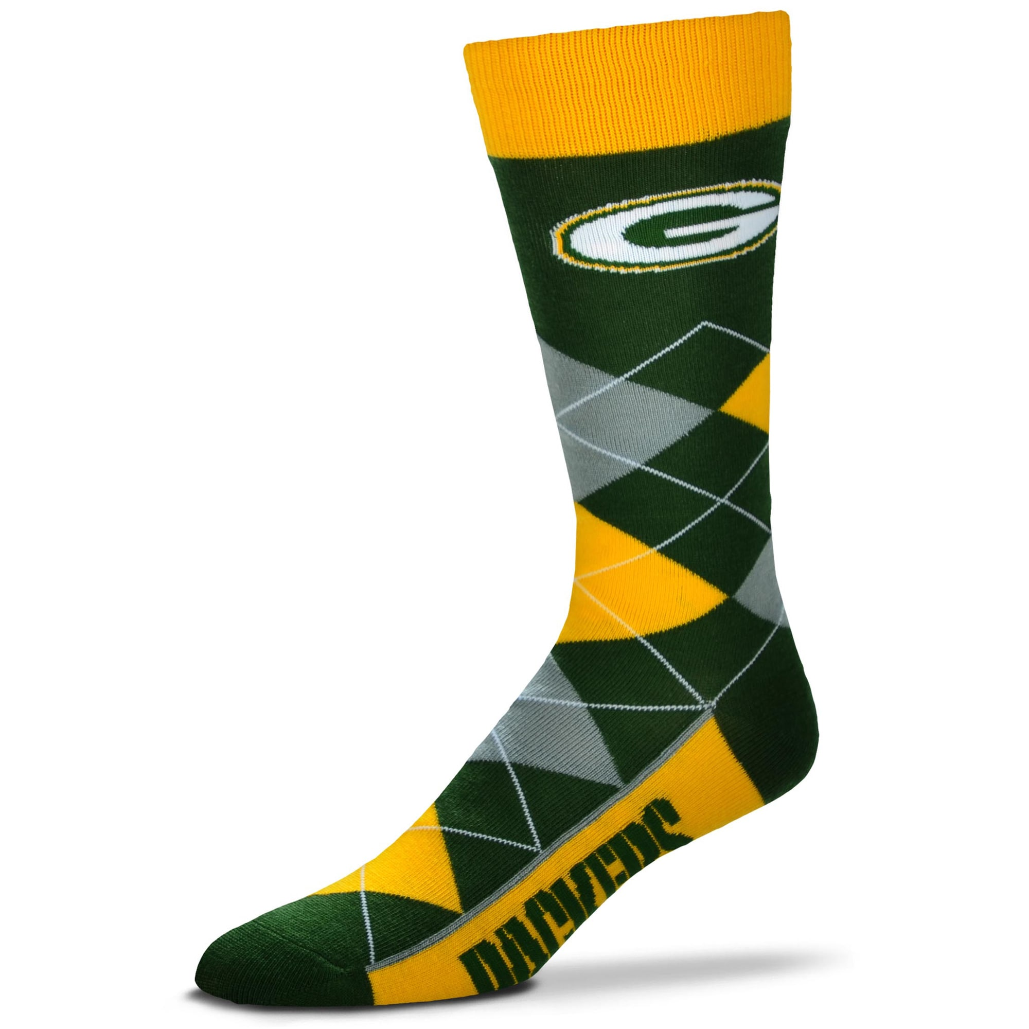 Green Bay Packers For Bare Feet Argyle Crew Socks