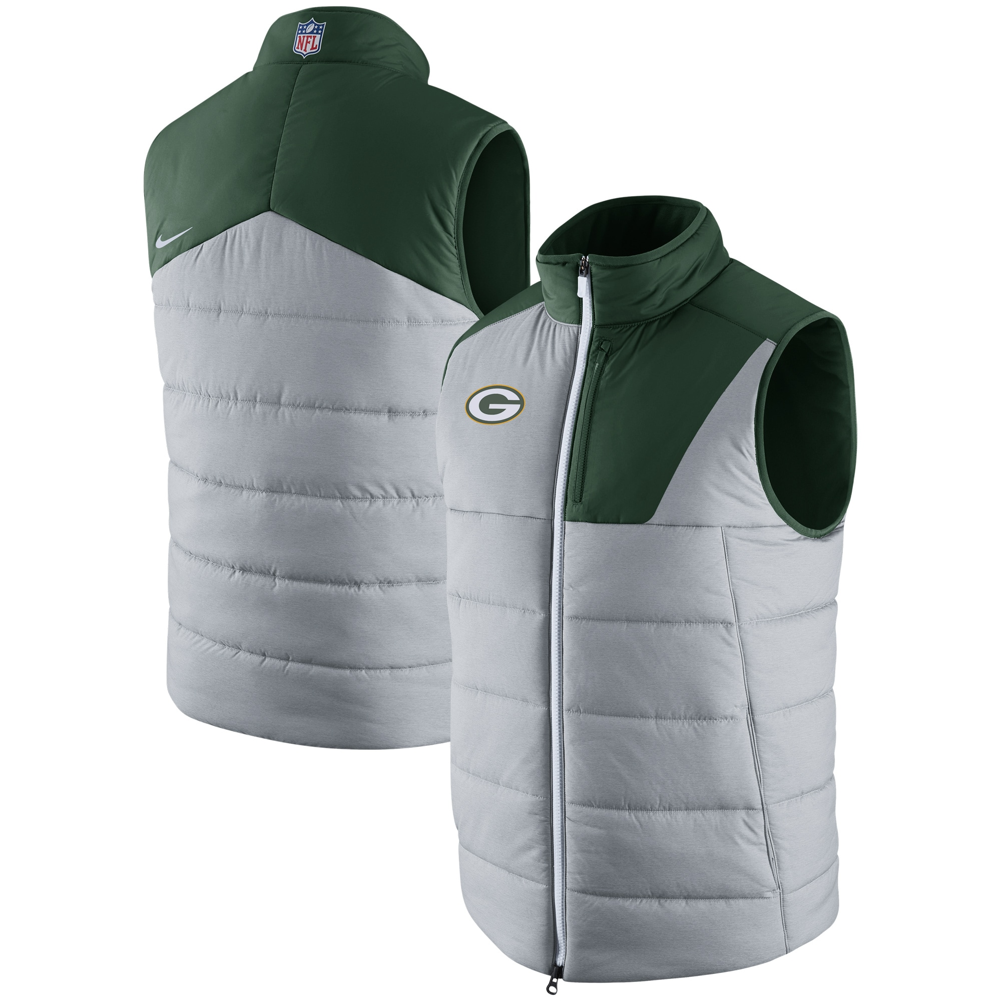 Green Bay Packers Nike Champ Drive Vest - Heathered Gray
