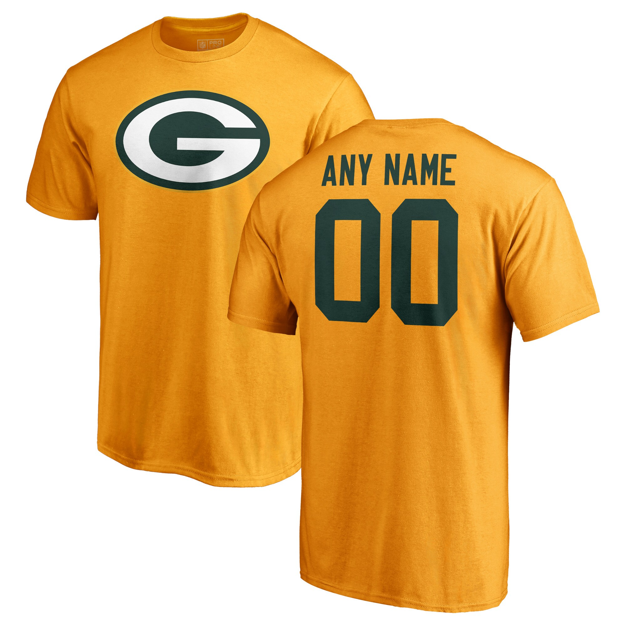 Green Bay Packers NFL Pro Line Personalized Name & Number Logo T-Shirt - Gold