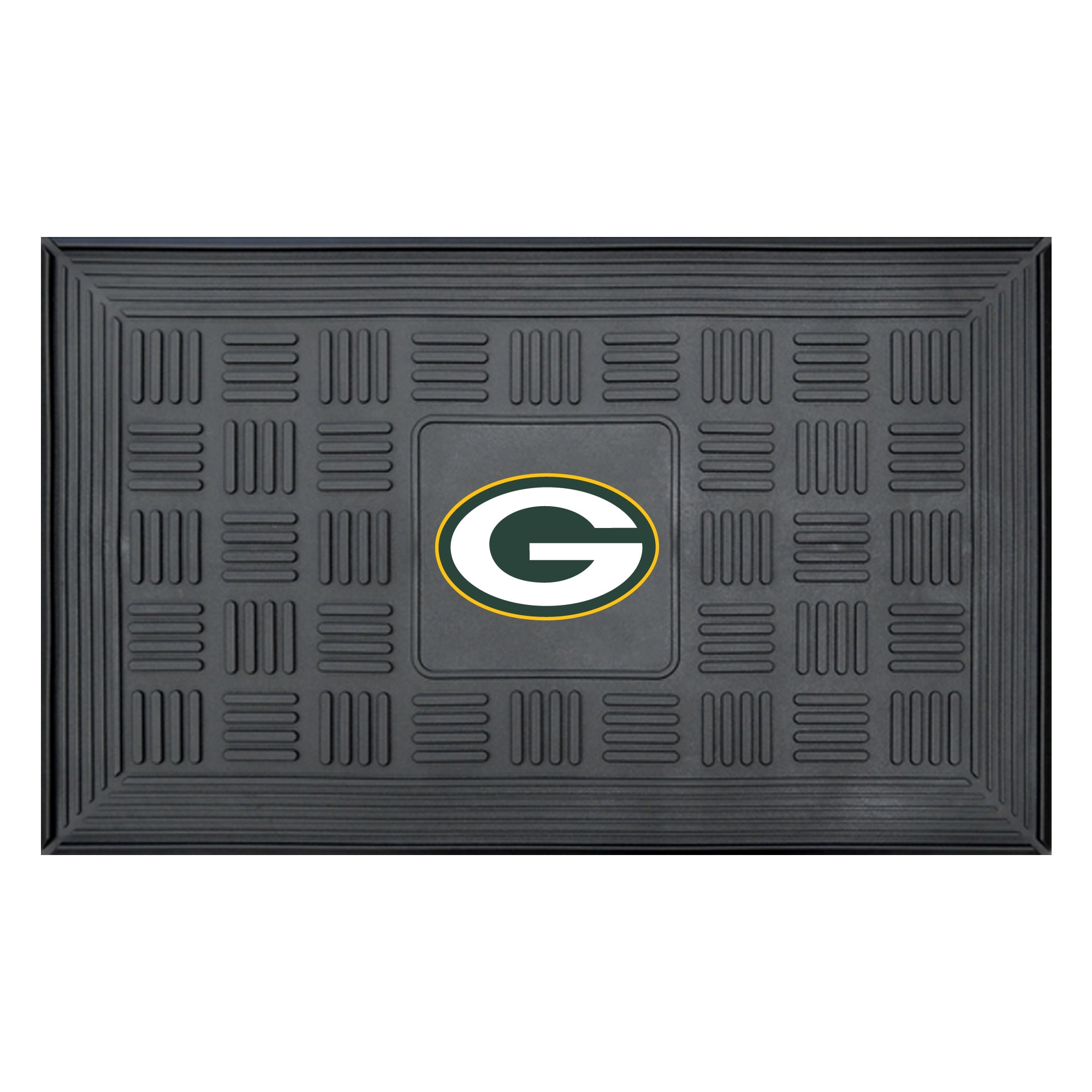 "Green Bay Packers 19"" x 30"" Vinyl Medallion Door Mat - Black"