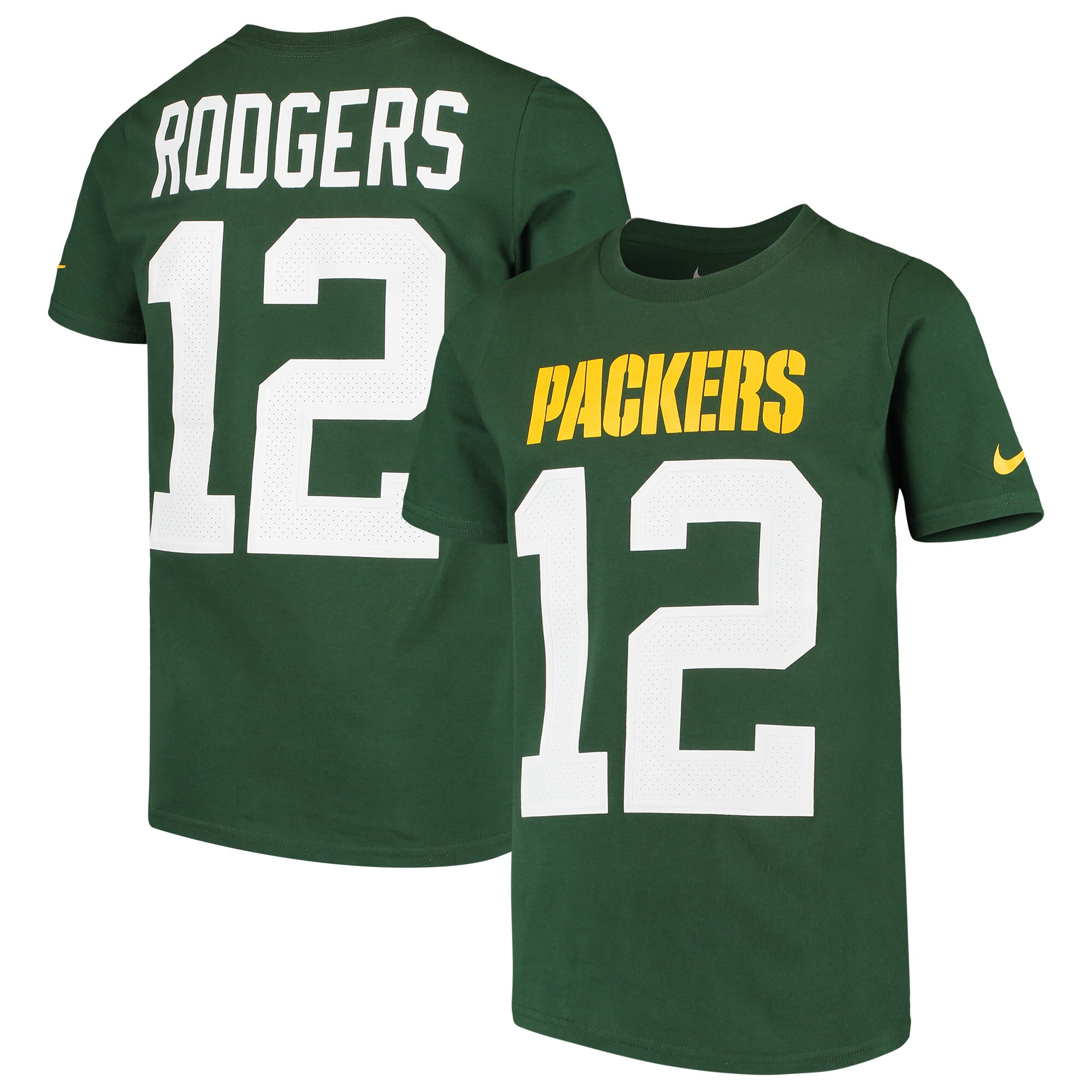 Aaron Rodgers Green Bay Packers Nike Youth Player Pride 3.0 Name & Number T-Shirt - Green
