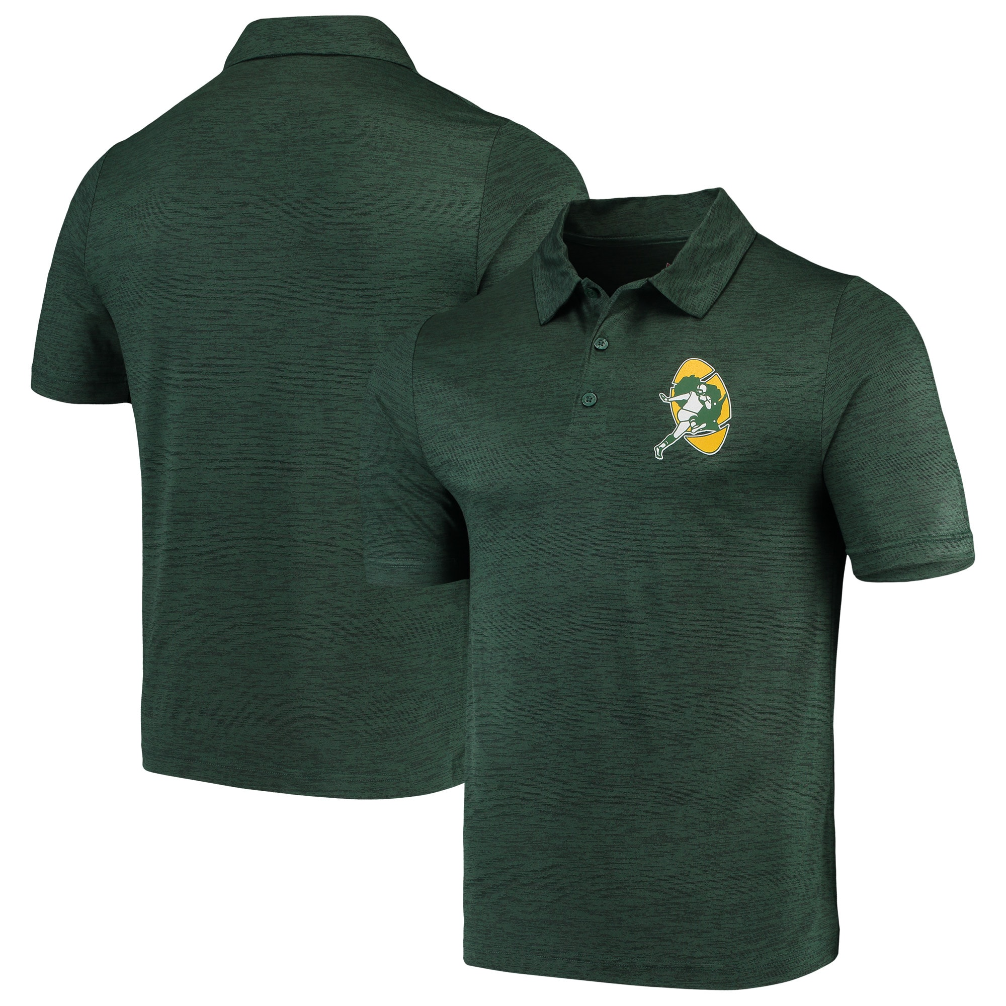 Green Bay Packers Majestic Iconic Retro Positive Production Polo - Green