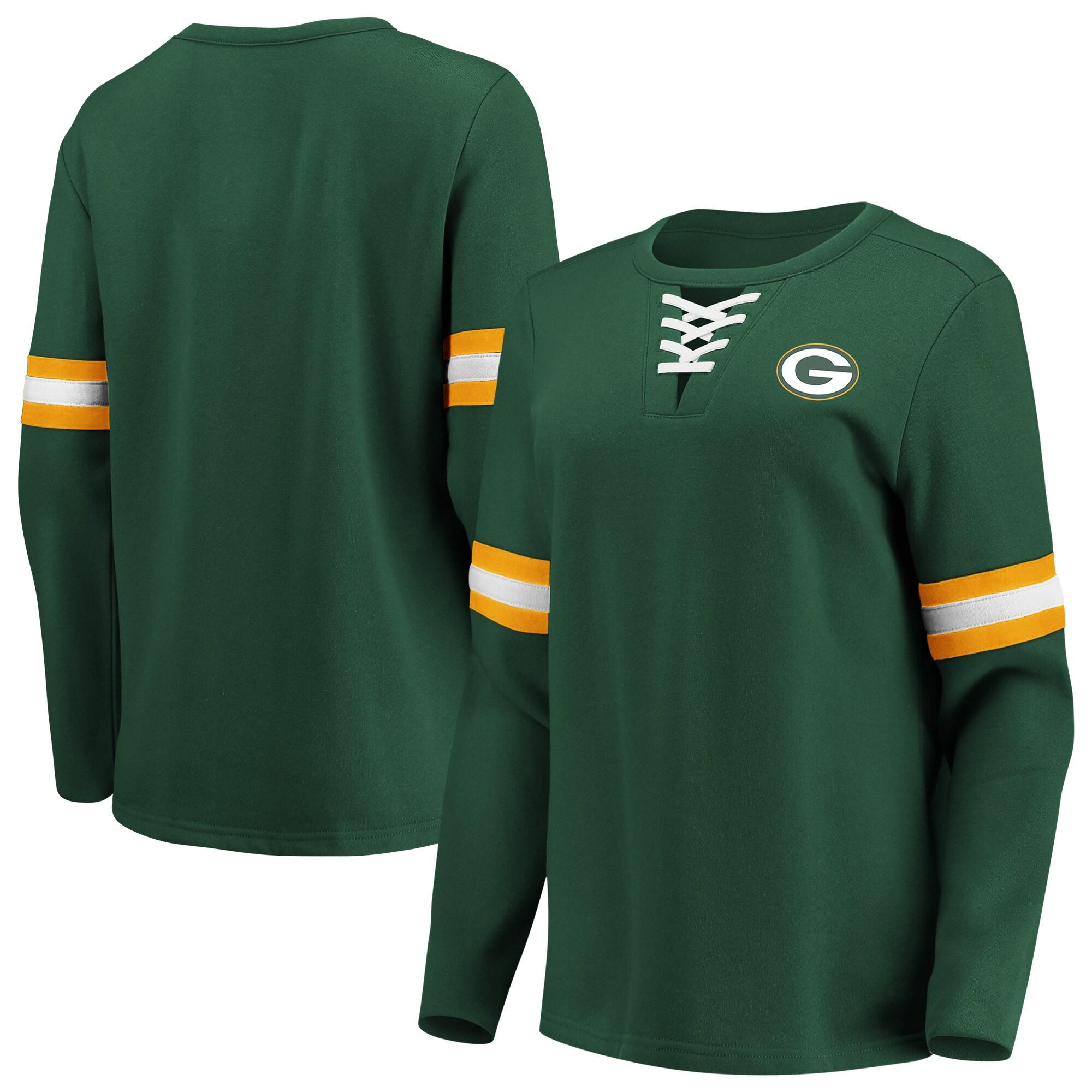 Green Bay Packers Fanatics Branded Women's Lead Draft Lace-Up Pullover Fleece Sweatshirt - Green