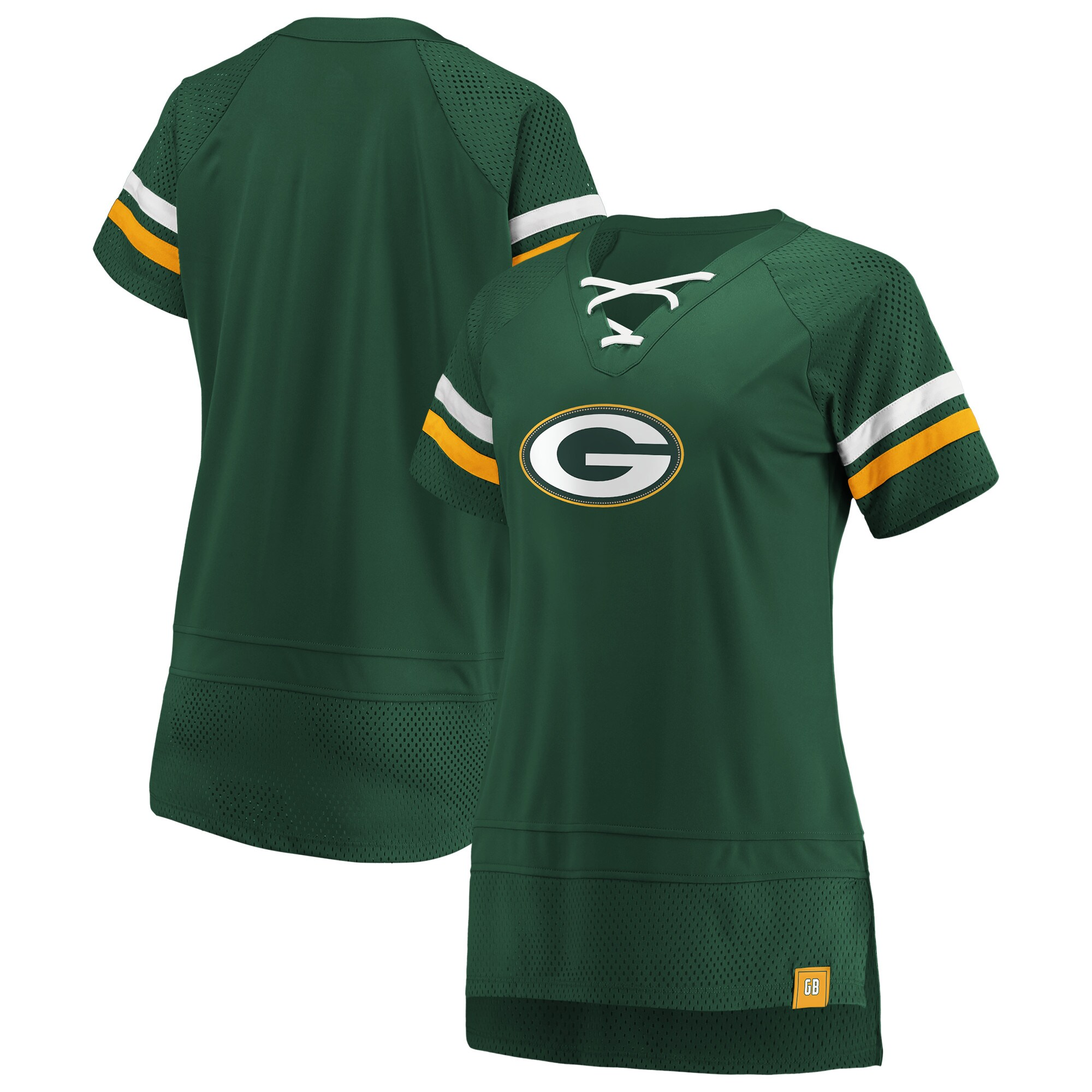 Green Bay Packers Fanatics Branded Women's Draft Me Lace Up T-Shirt - Green/Gold