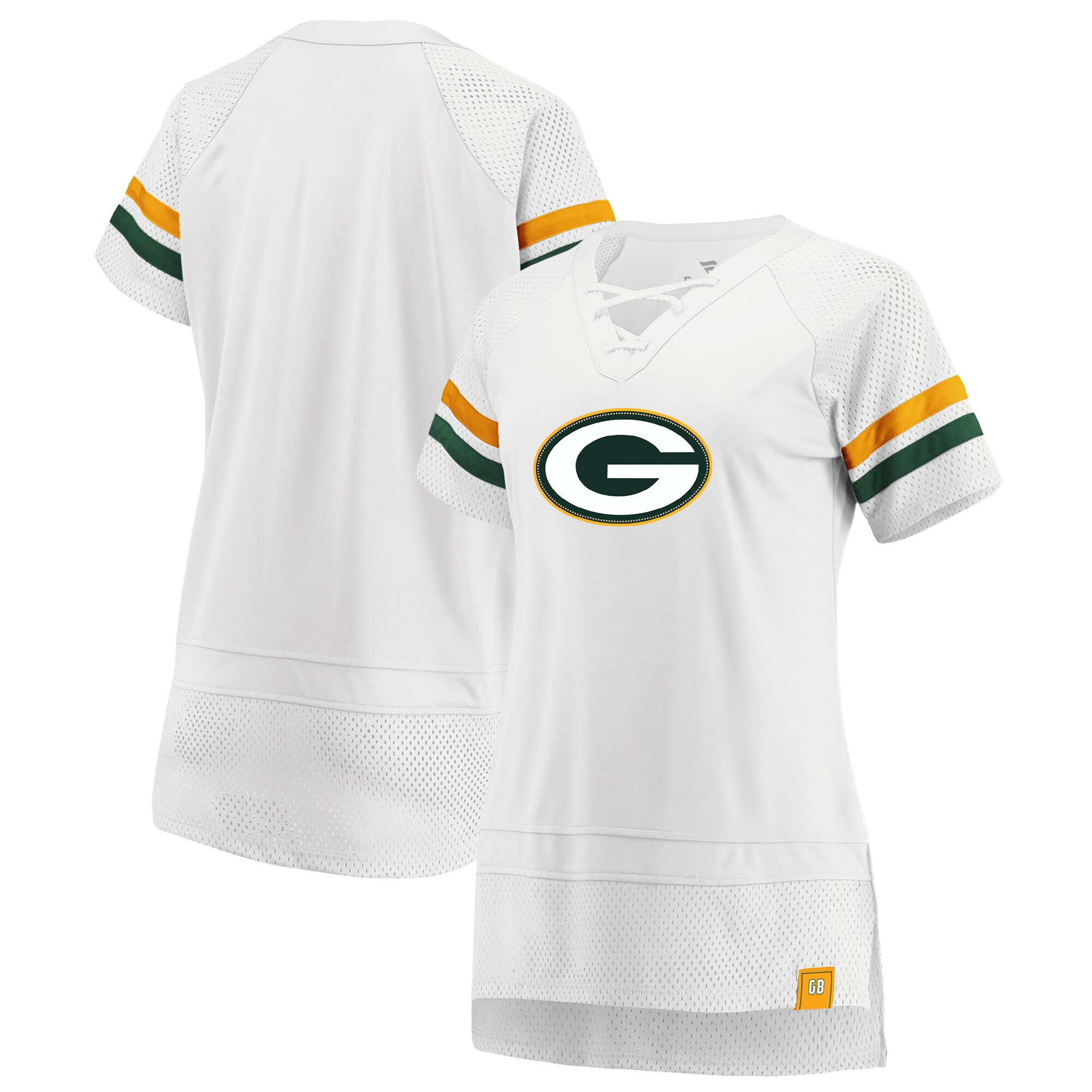 Green Bay Packers Fanatics Branded Women's Draft Me Lace Up T-Shirt - White/Green