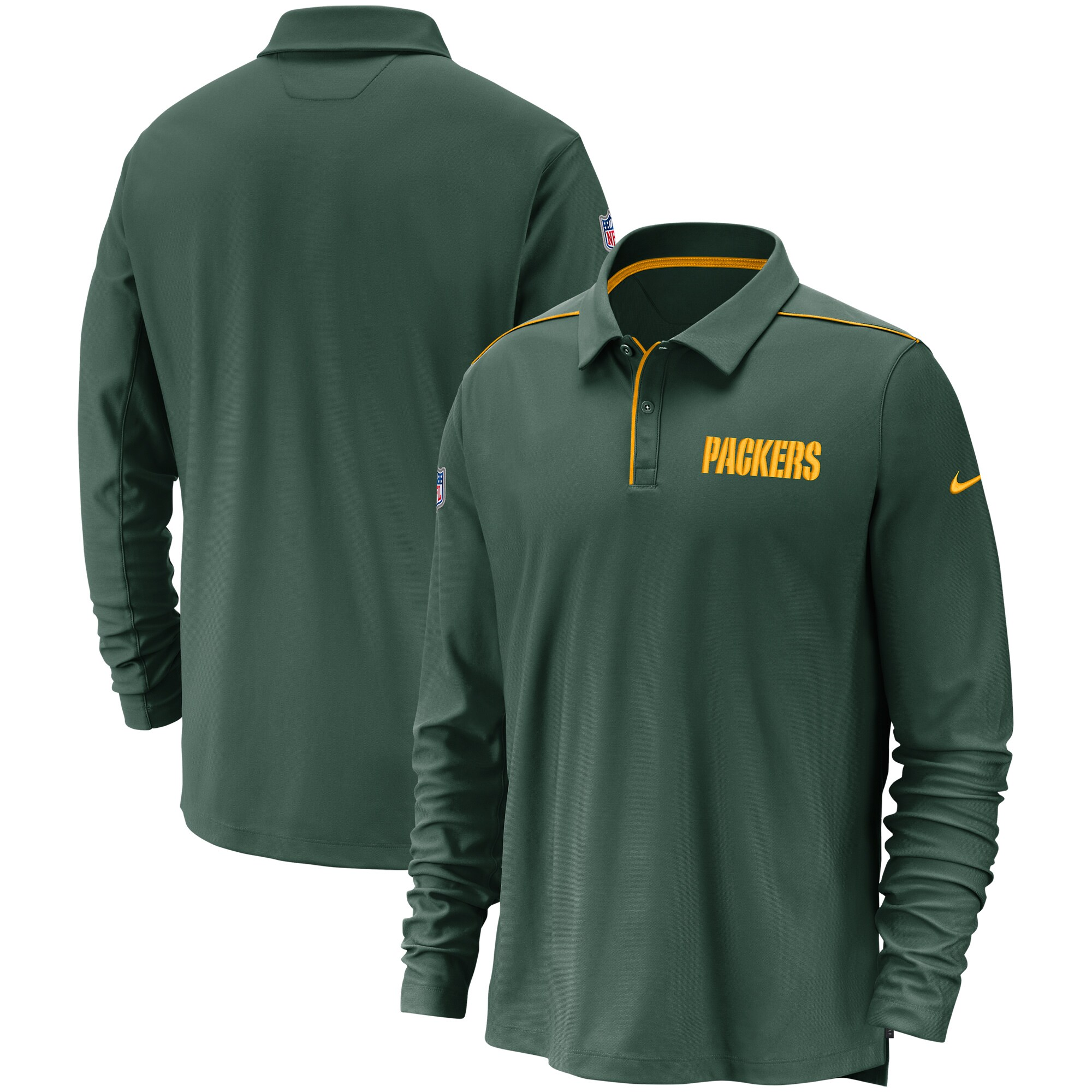 Green Bay Packers Nike Sideline Team Issue UV Performance Long Sleeve Polo - Green