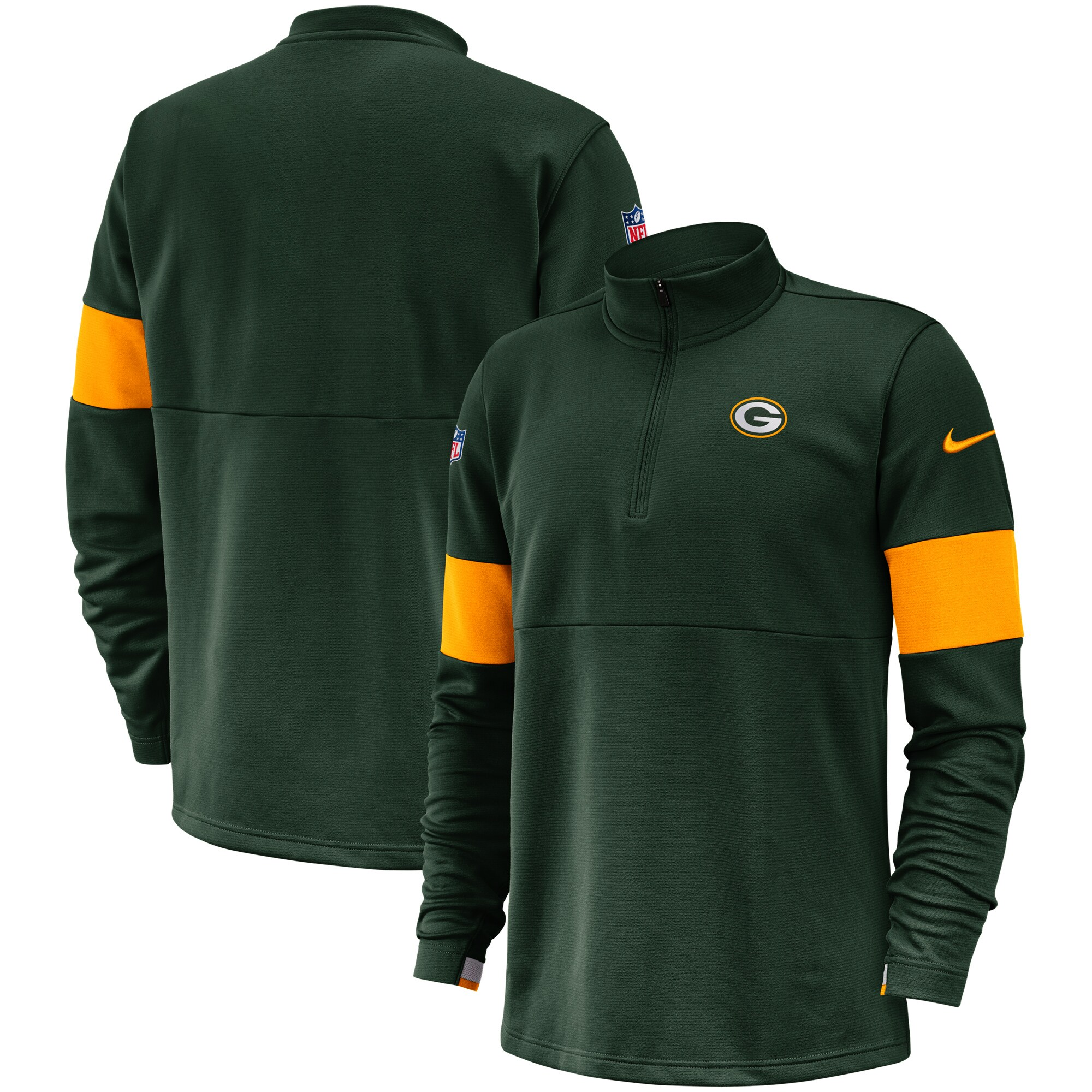 Green Bay Packers Nike Sideline Performance Half-Zip Pullover Jacket - Green