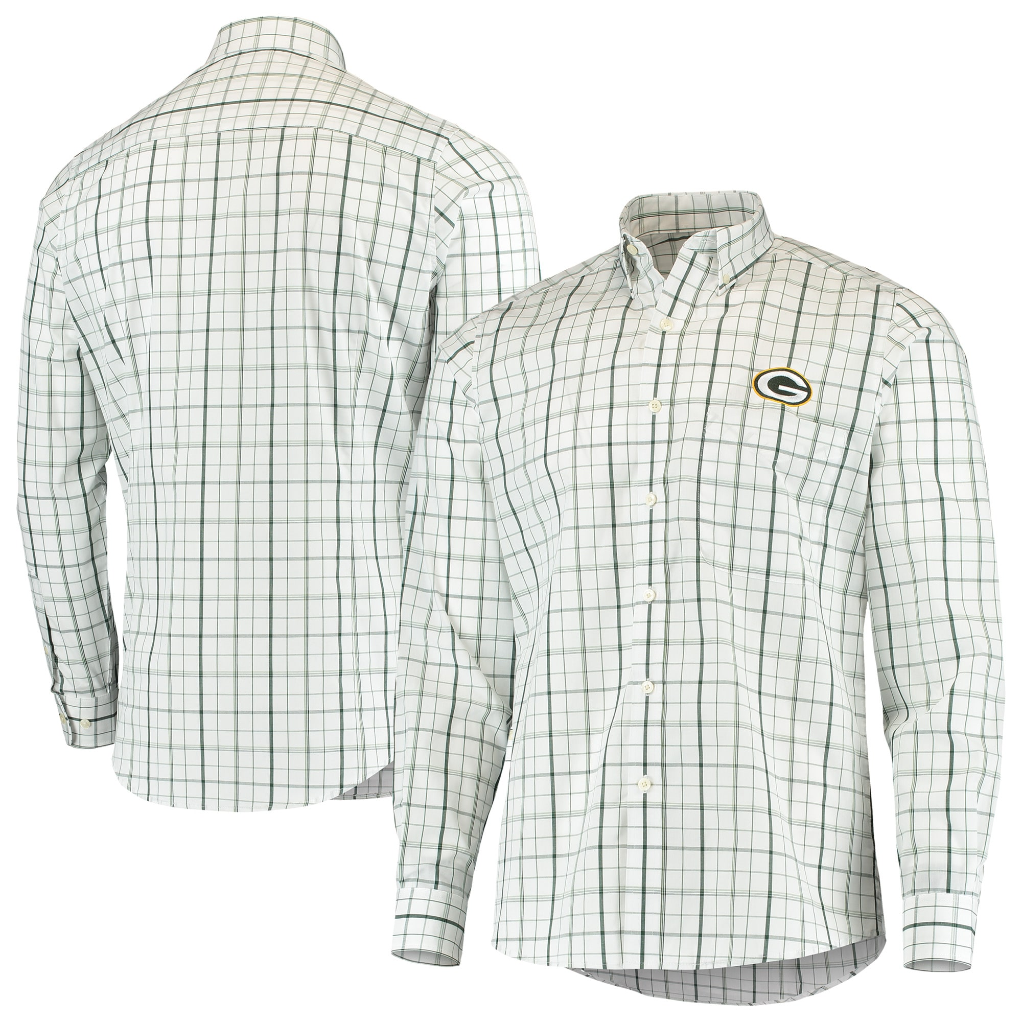 Green Bay Packers Antigua Keen Long Sleeve Button-Down Shirt - White/Green