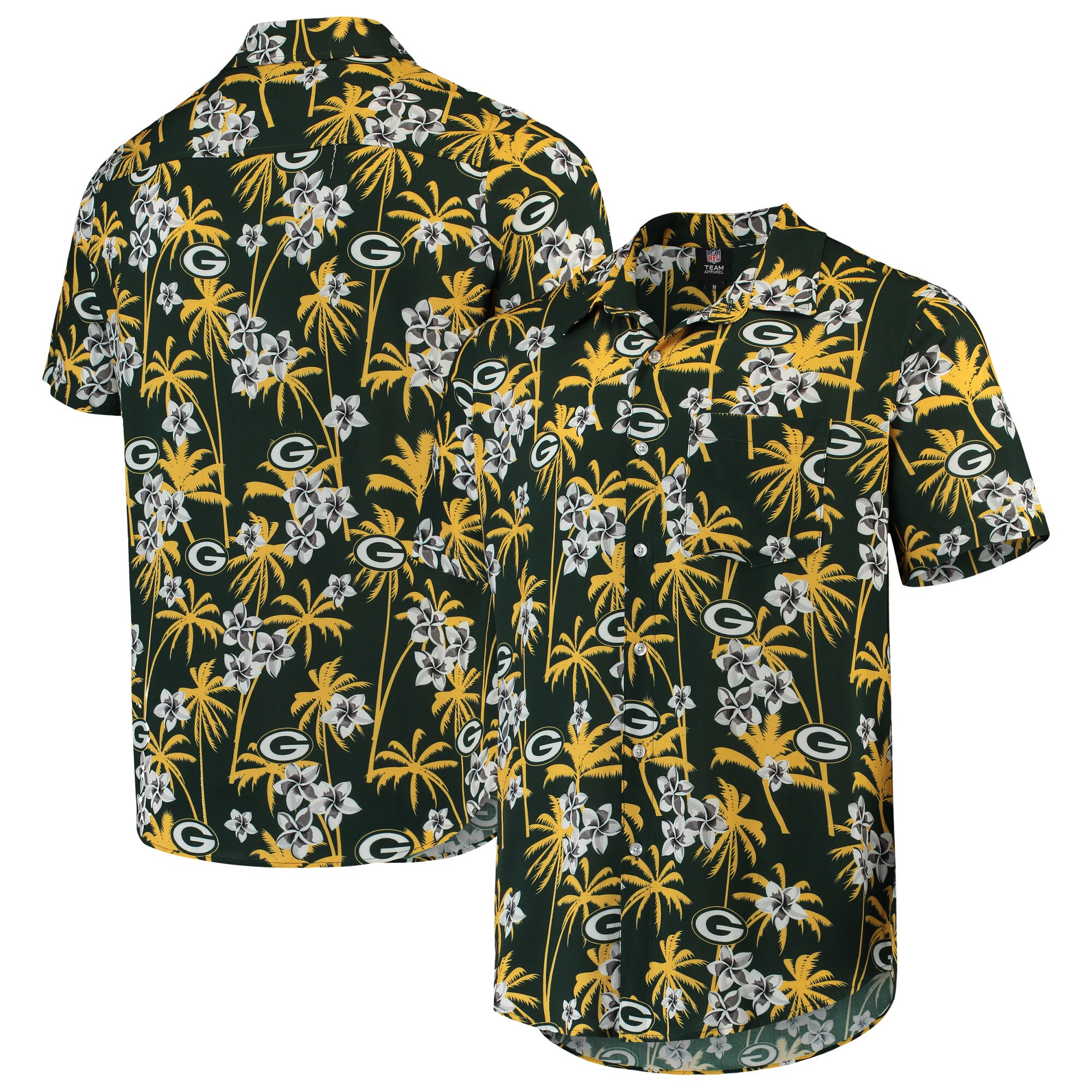 Green Bay Packers Floral Woven Button-Up Shirt - Green