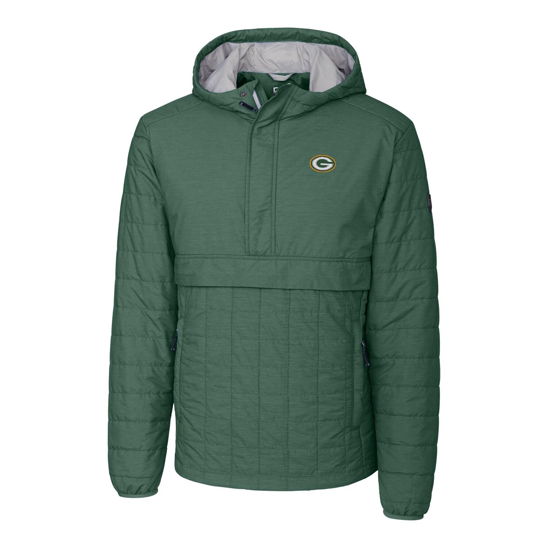 Green Bay Packers Cutter & Buck Rainier Hooded Half-Zip Pullover Jacket - Green