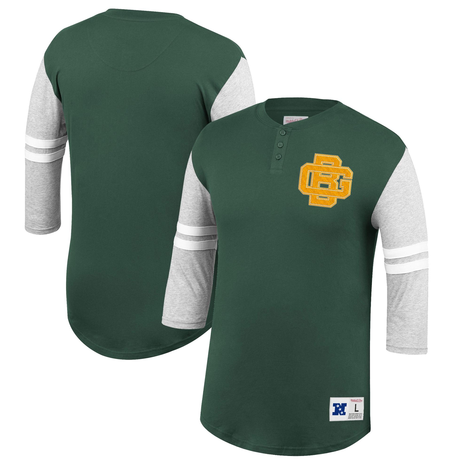 Green Bay Packers Mitchell & Ness Team Logo 3/4-Sleeve Henley T-Shirt - Green