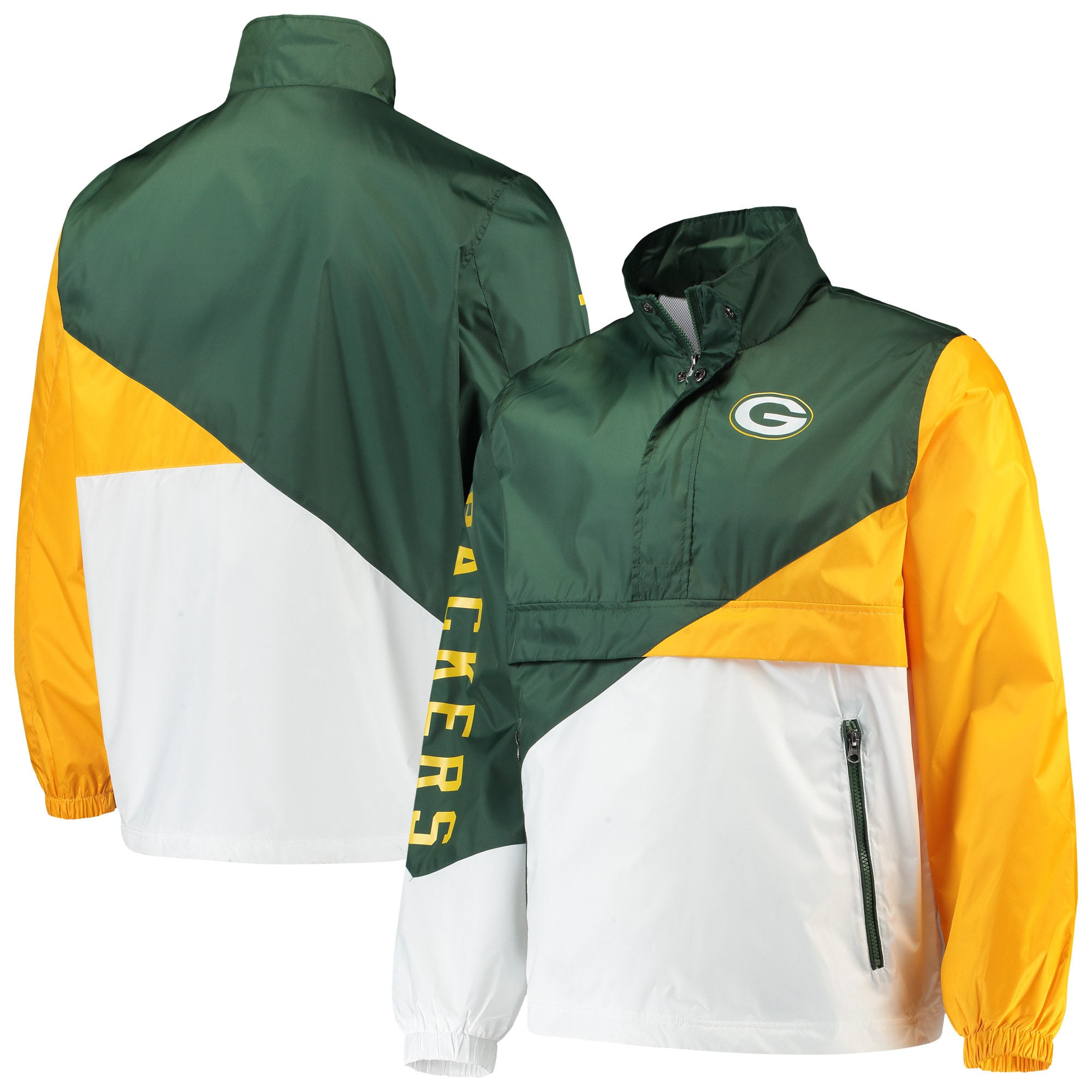 Green Bay Packers G-III Sports by Carl Banks Double Team Half-Zip Pullover Jacket - Green/White