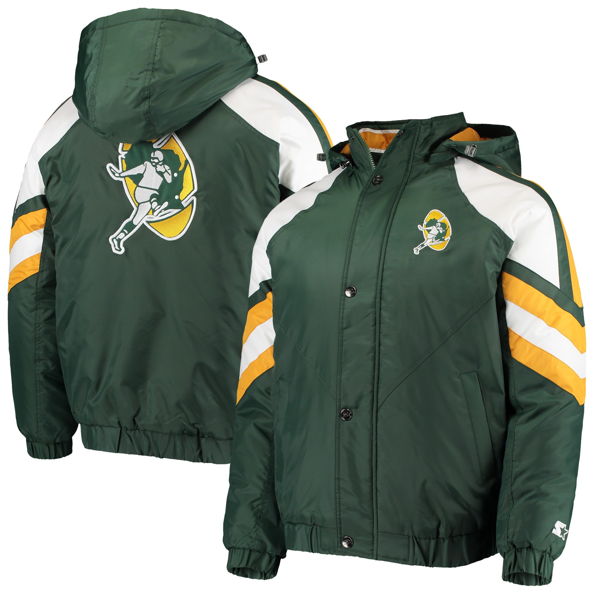 Green Bay Packers Starter Throwback Pro Raglan Full-Zip Jacket - Green