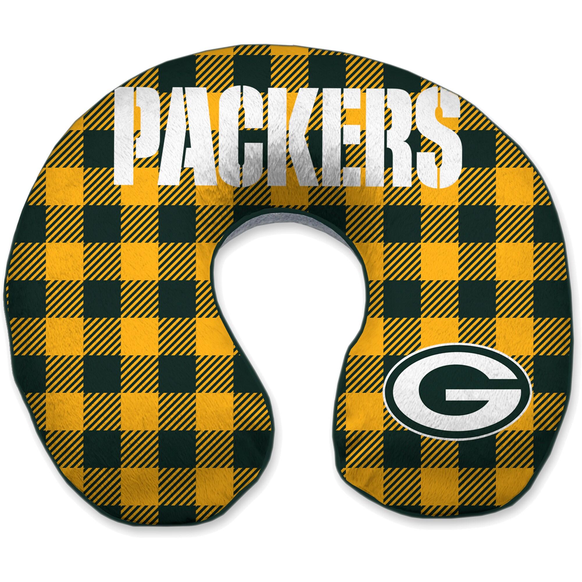 Green Bay Packers Buffalo Check Sherpa Memory Foam Travel Pillow - Green