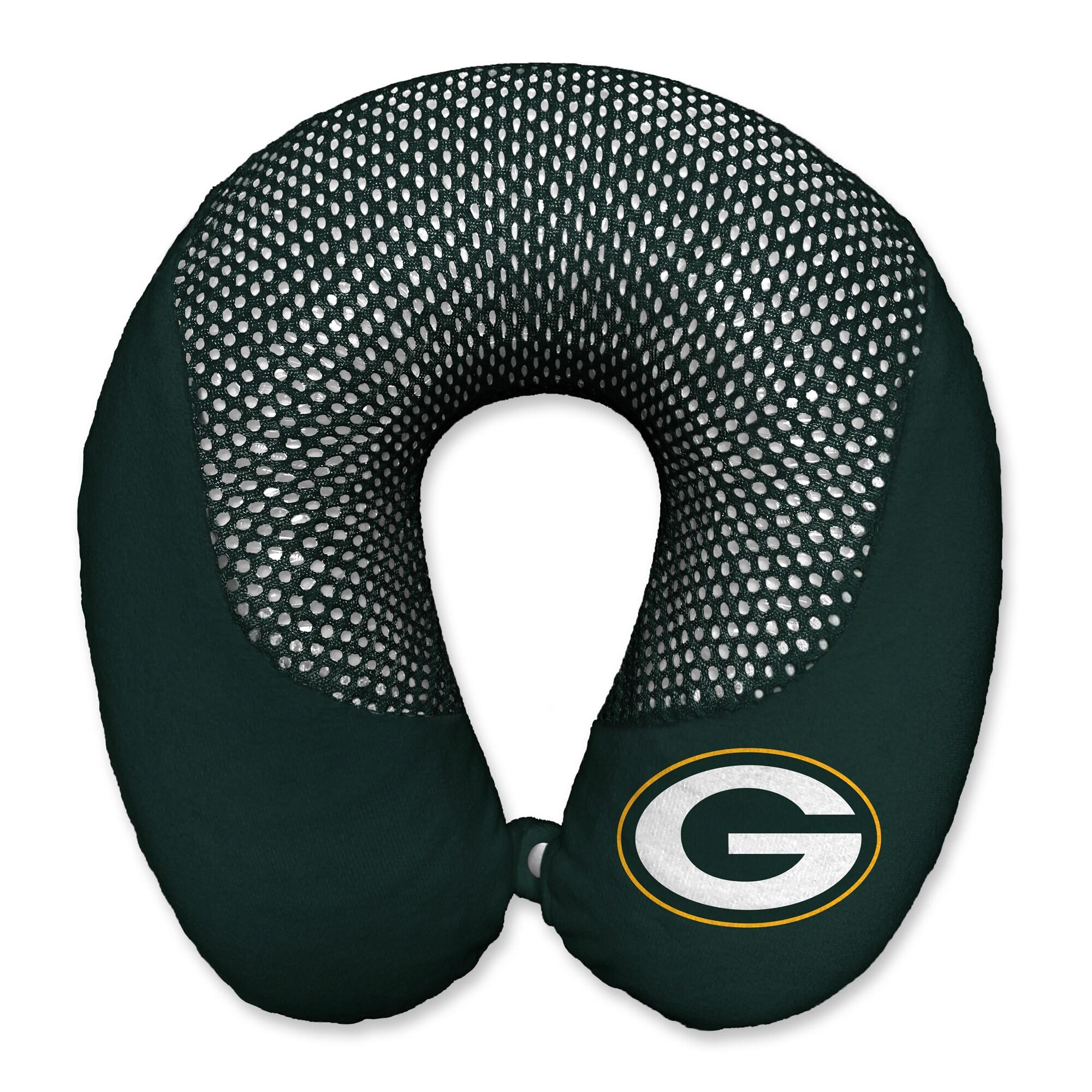 Green Bay Packers Cooling Gel Plush Memory Foam Travel Pillow - Green