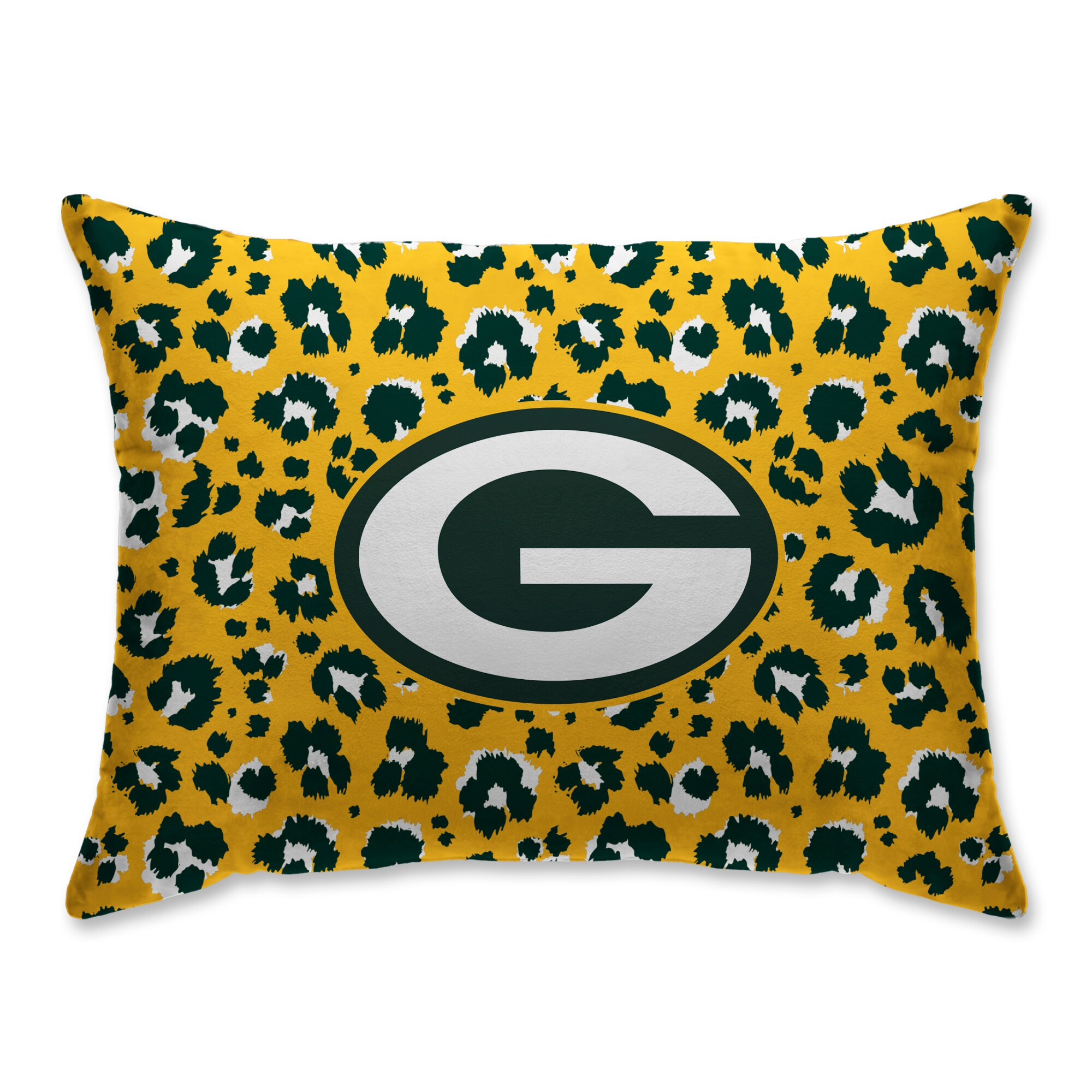 Green Bay Packers Leopard Plush Bed Pillow - Green