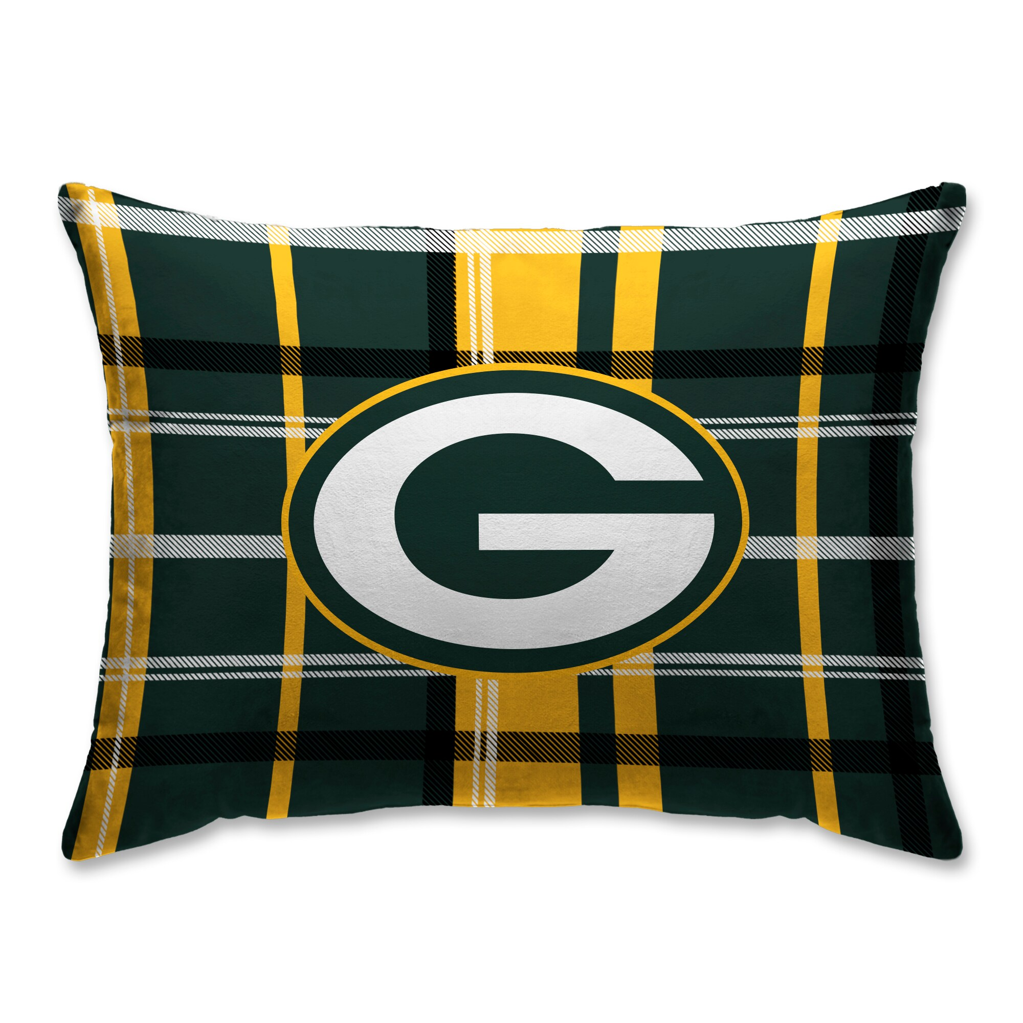 Green Bay Packers Plaid Plush Sherpa Bed Pillow - Green