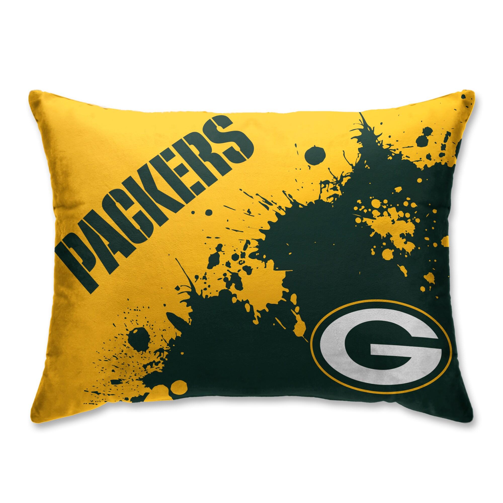 Green Bay Packers Splatter Plush Bed Pillow - Green
