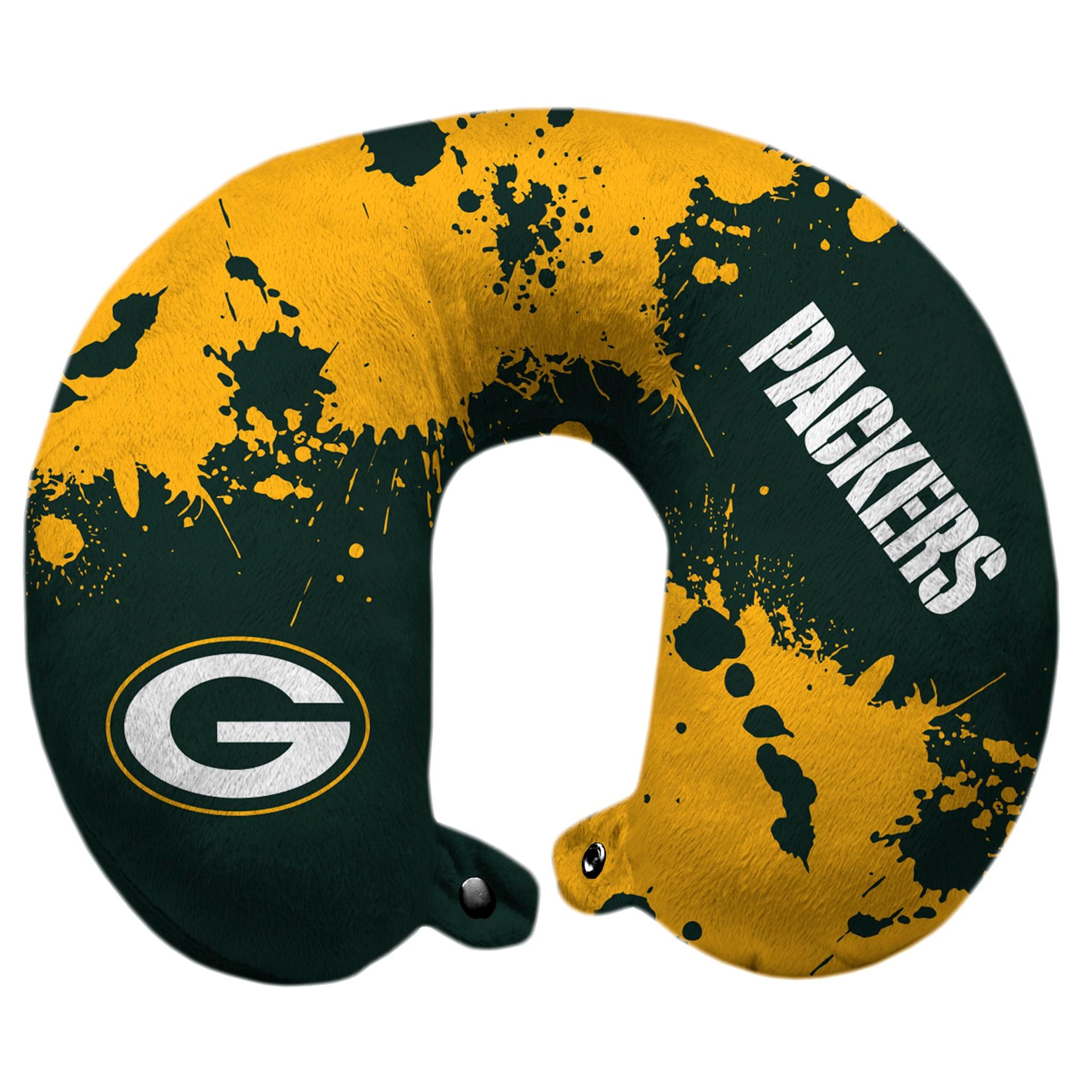 Green Bay Packers Splatter Polyester Snap Closure Travel Pillow - Green