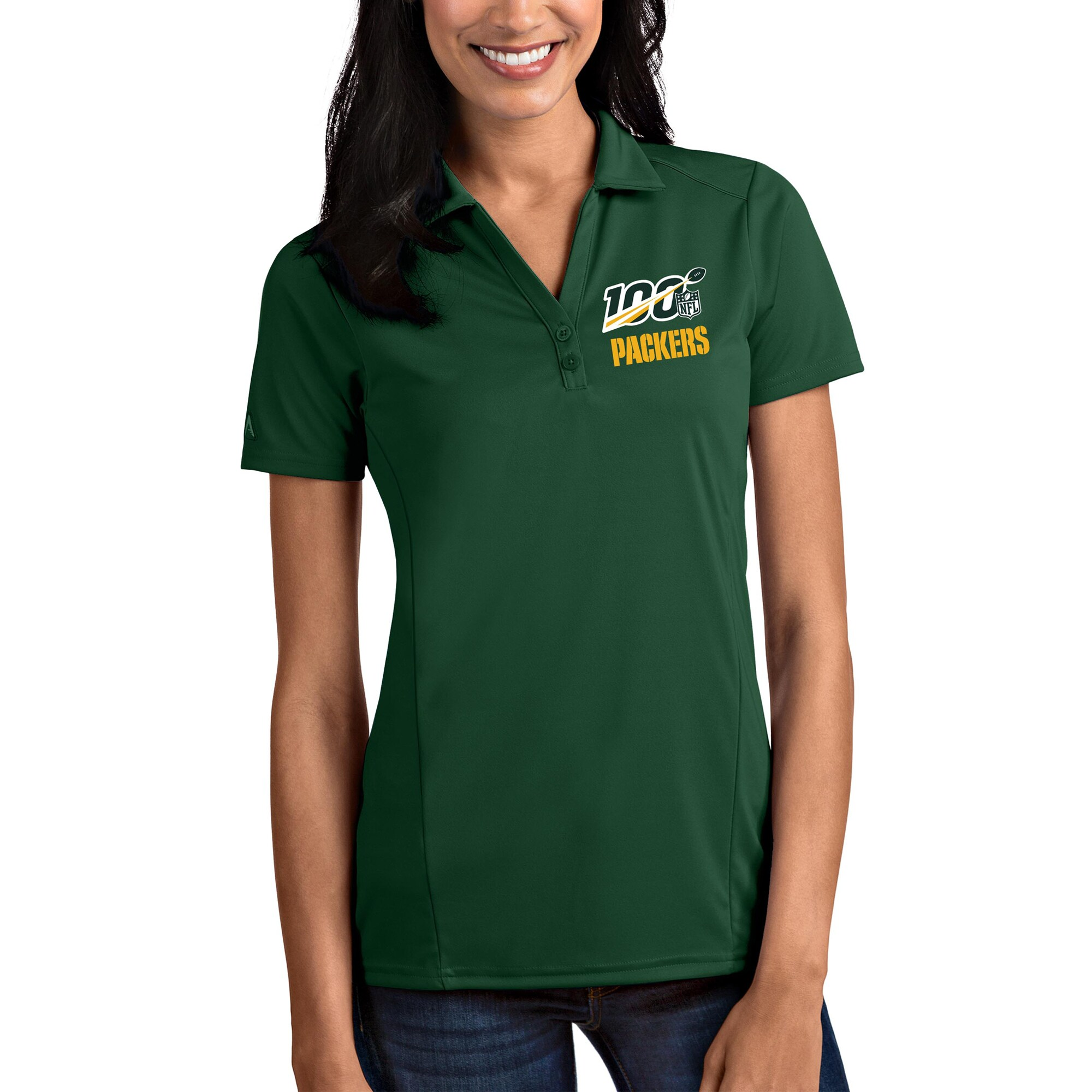Green Bay Packers Antigua Women's NFL 100 Tribute Polo - Green