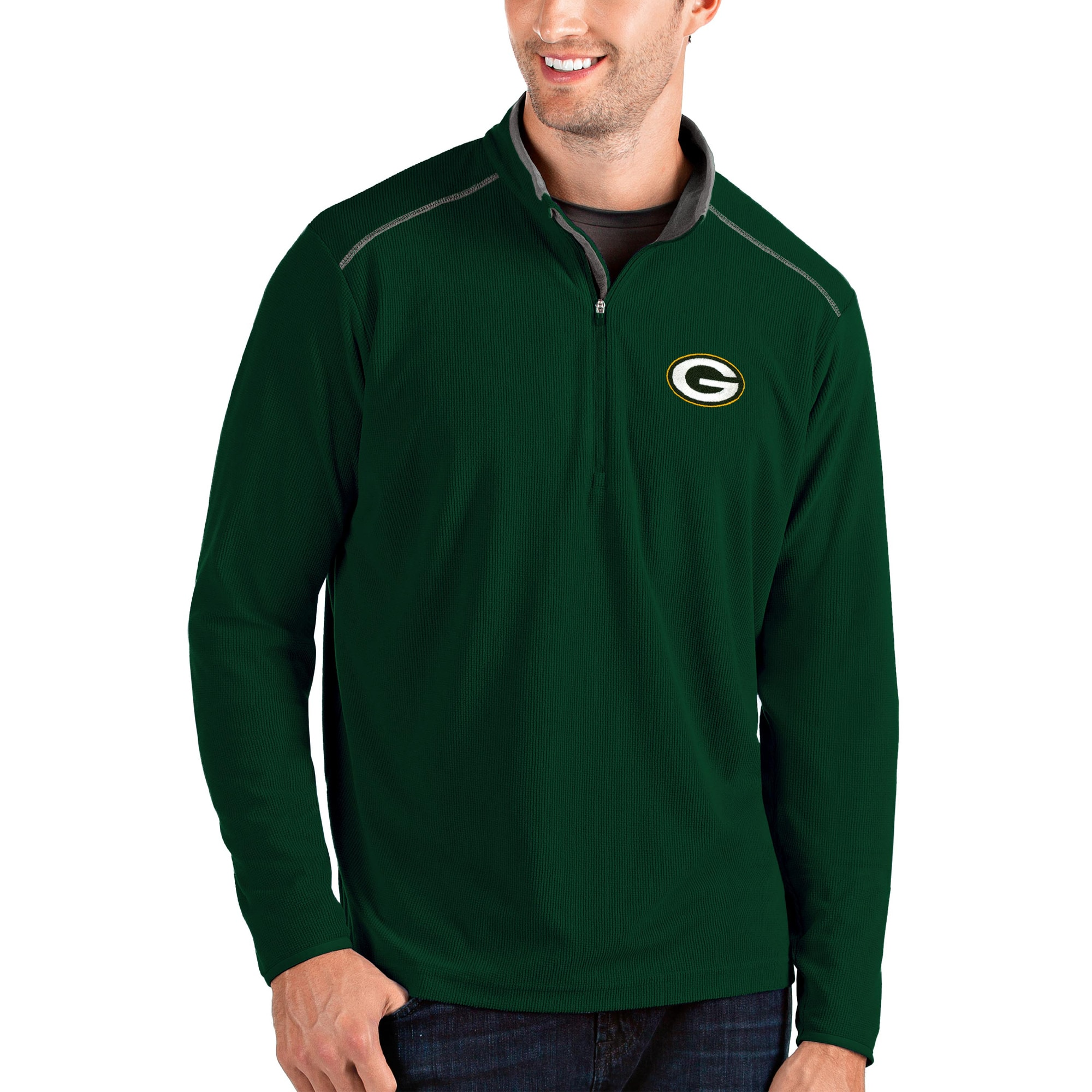 Green Bay Packers Antigua Glacier Quarter-Zip Pullover Jacket - Green/Gray