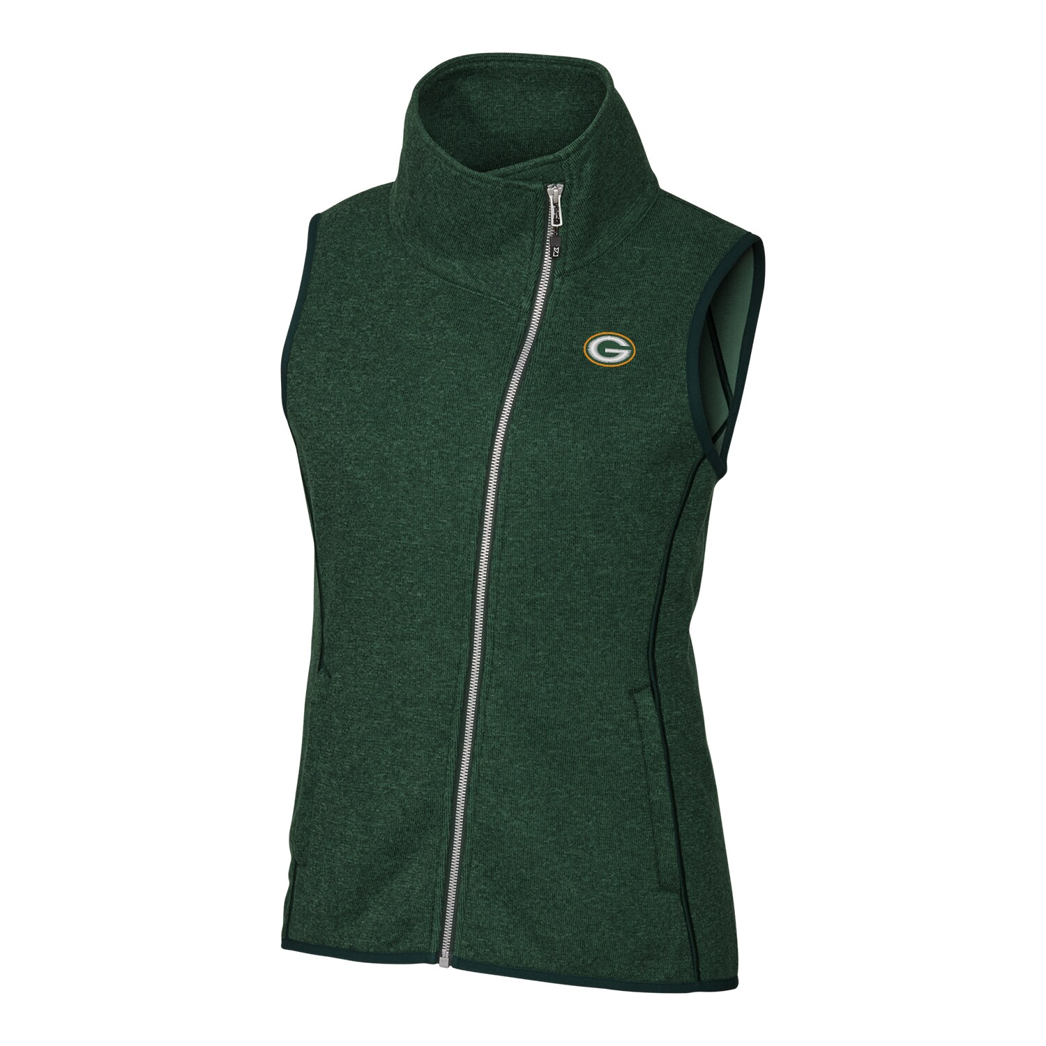 Green Bay Packers Cutter & Buck Women's Mainsail Full-Zip Vest - Green