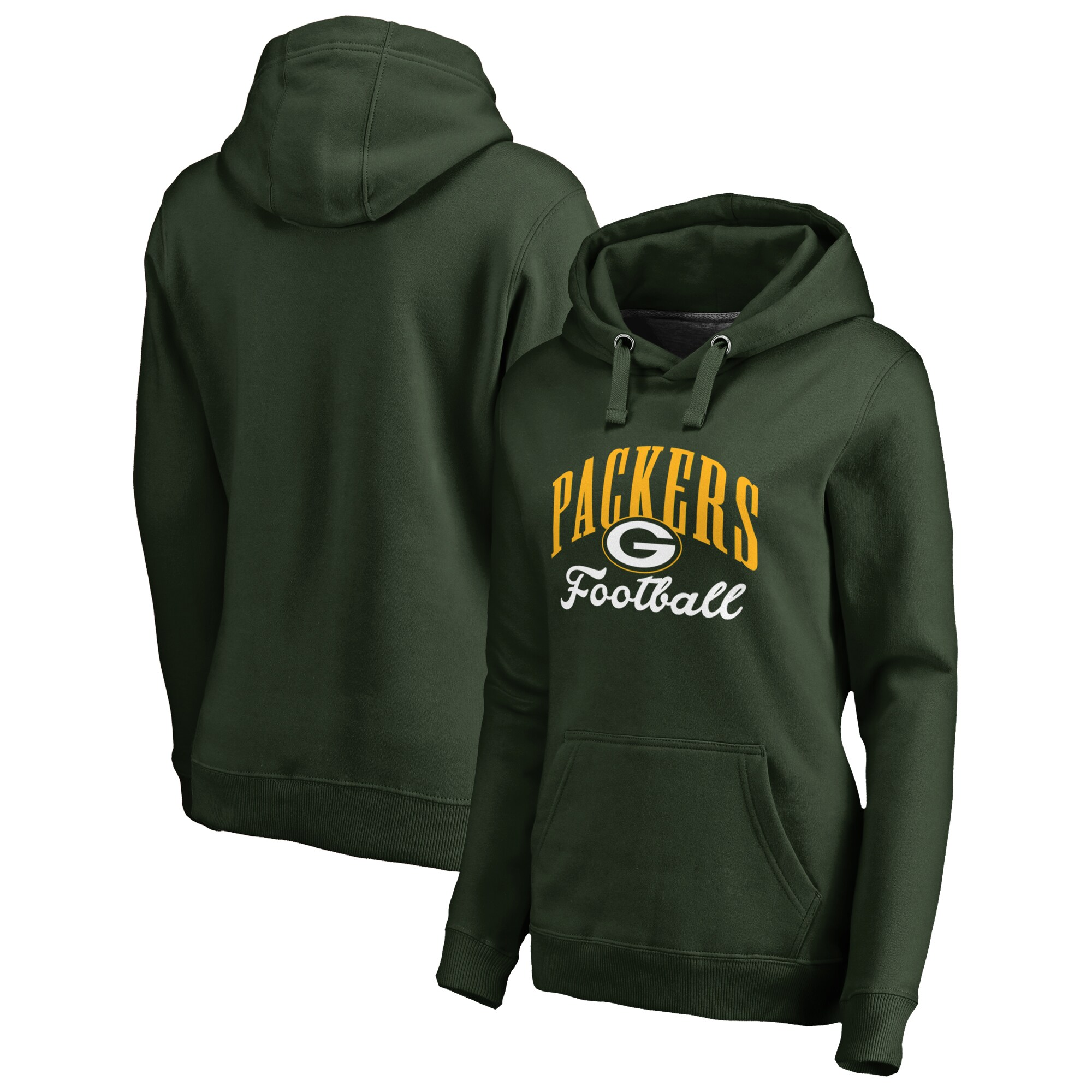Green Bay Packers NFL Pro Line by Fanatics Branded Women's Victory Script Plus Size Pullover Hoodie - Green