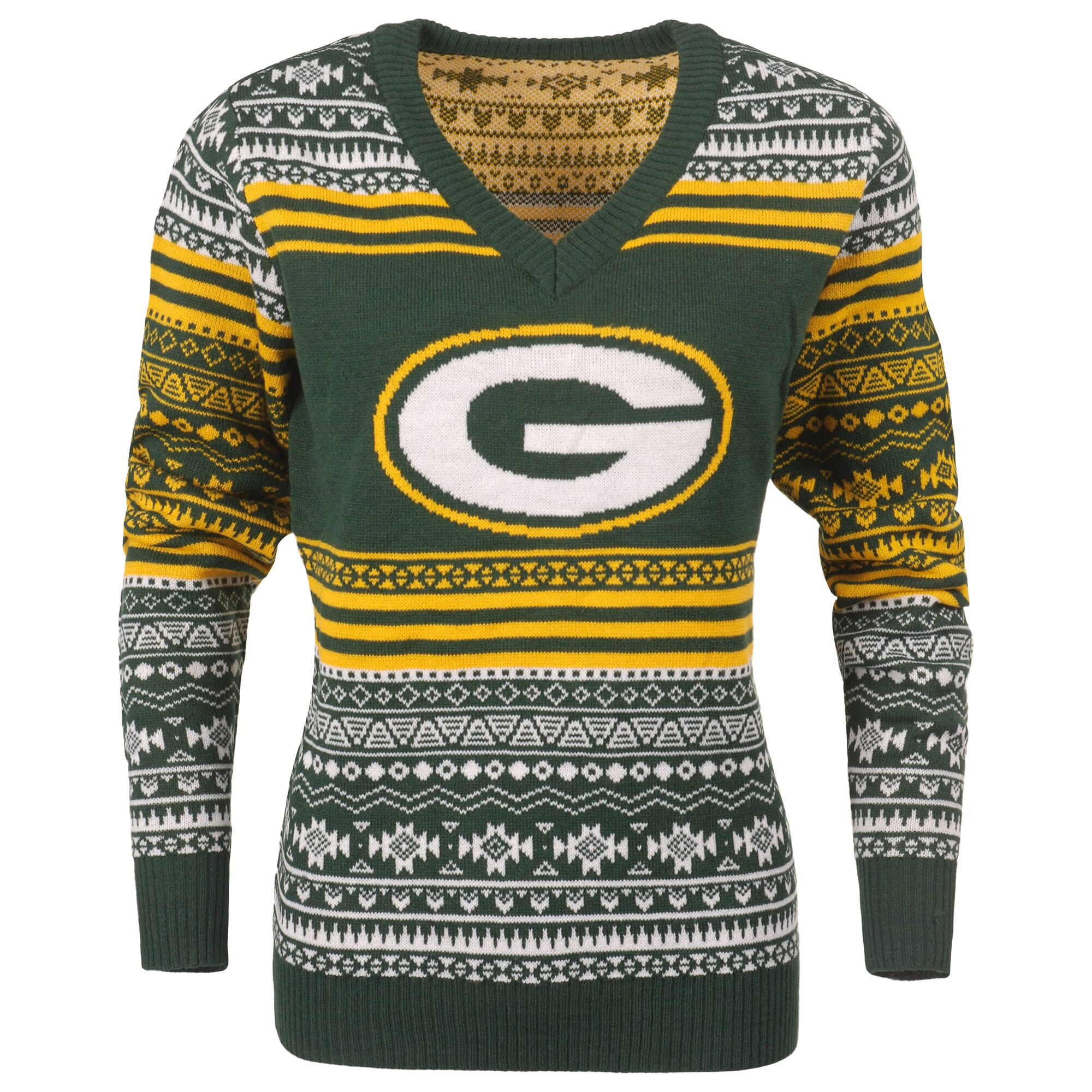 Green Bay Packers Women's Big Logo Aztec V-Neck Sweater - Green