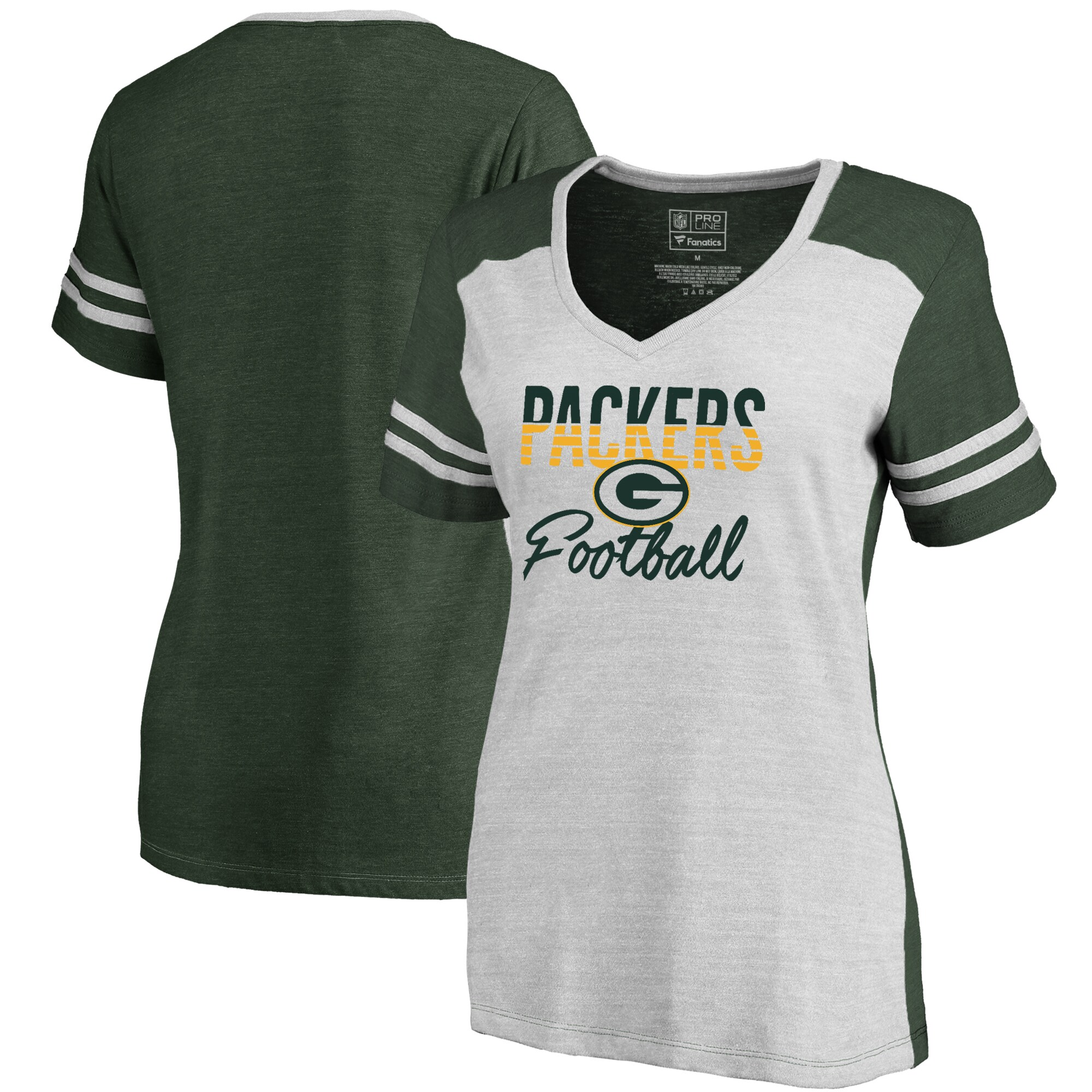 Green Bay Packers NFL Pro Line by Fanatics Branded Women's Free Line Color Block Tri-Blend V-Neck T-Shirt - White/Green