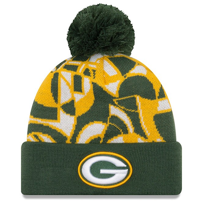 Green Bay Packers New Era NFLxFIT Cuffed Knit Hat with Pom - Green
